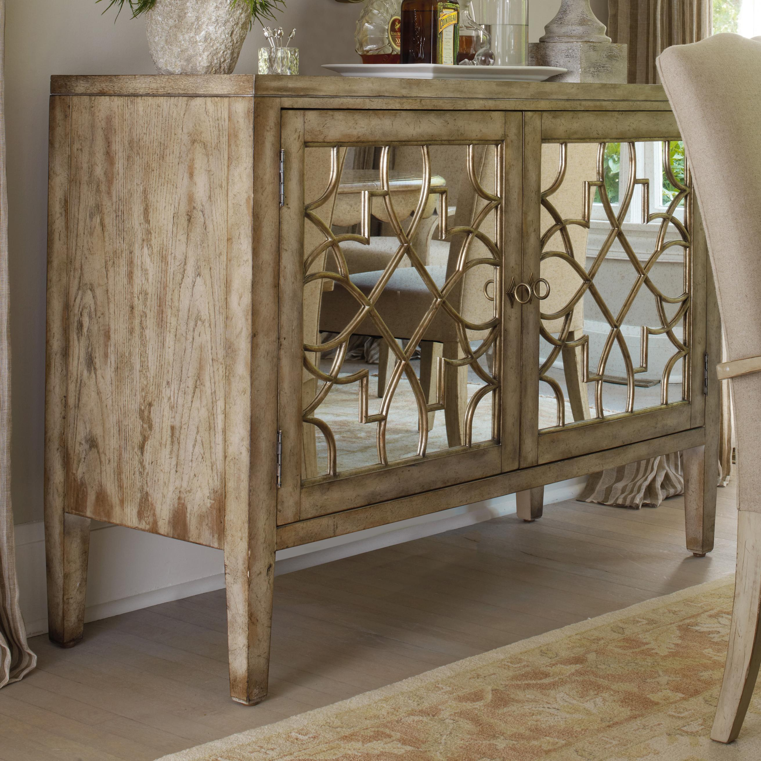 Hooker Furniture Sanctuary Two Door Mirrored Console With Contemporary Wooden Buffets With One Side Door Storage Cabinets And Two Drawers (View 11 of 30)