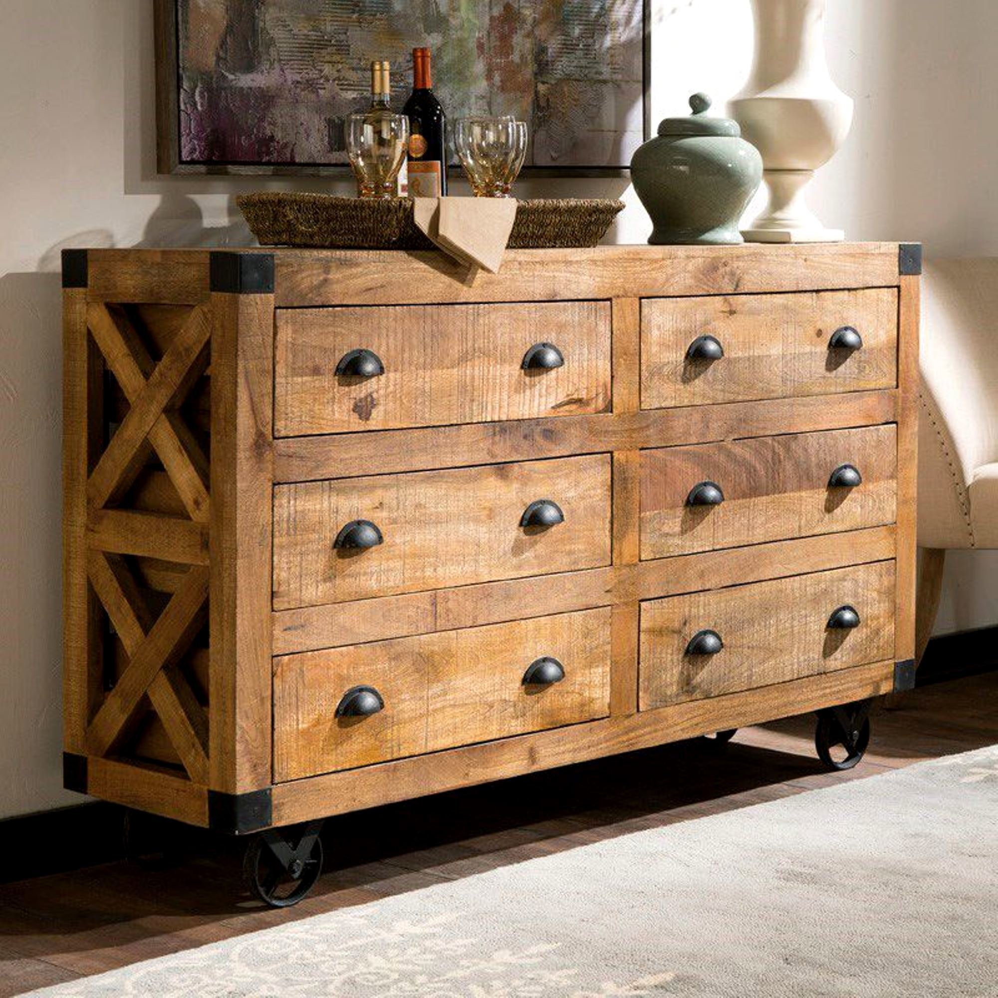 Industrial Design Buffet Storage Drawer Cabinet With Metal Casters In Industrial Style 3 Drawer Buffets (View 19 of 30)