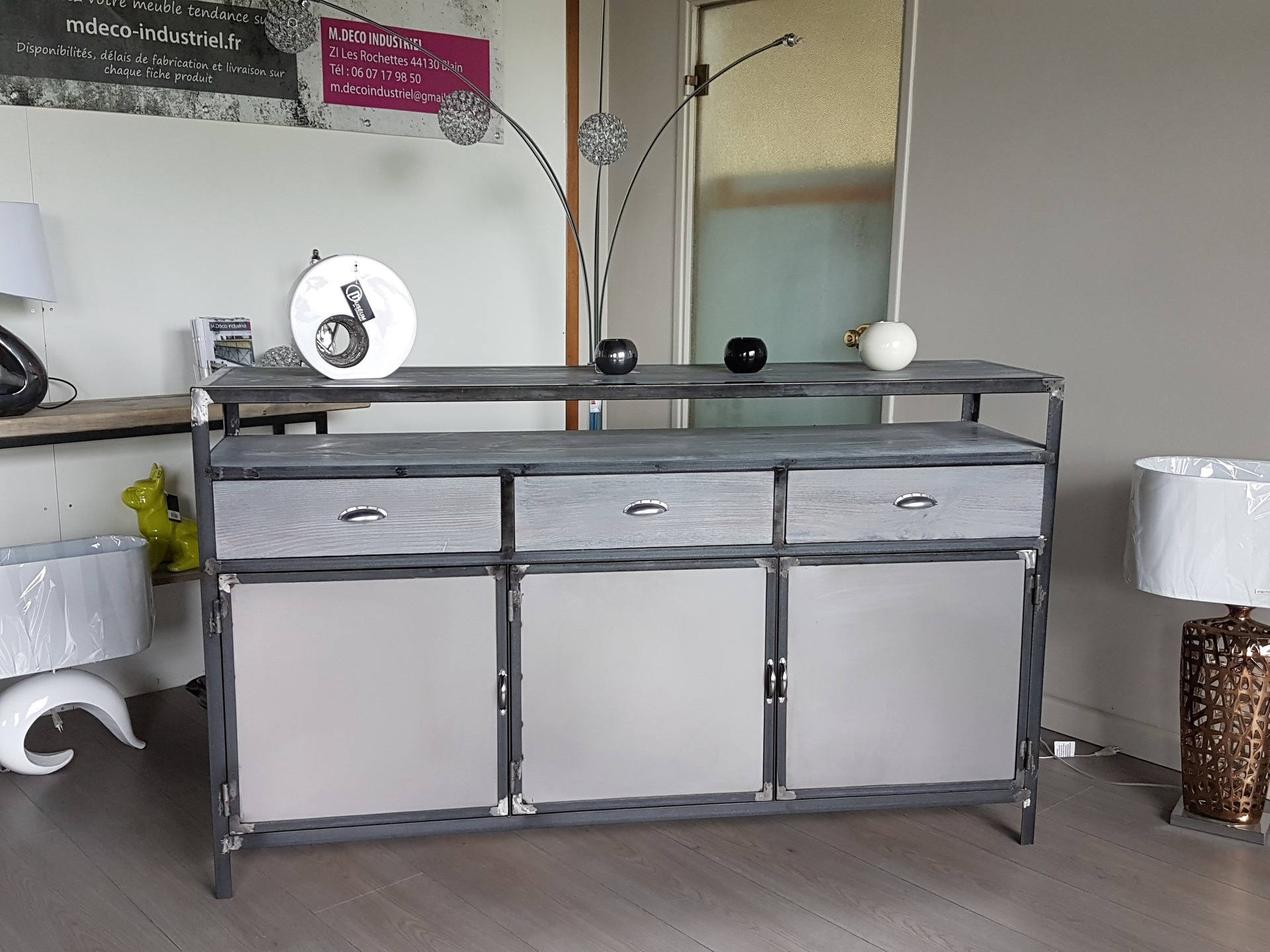 Industrial Furniture Sideboard Gray 3 Doors 3 Drawers With Industrial Style 3 Drawer Buffets (View 20 of 30)