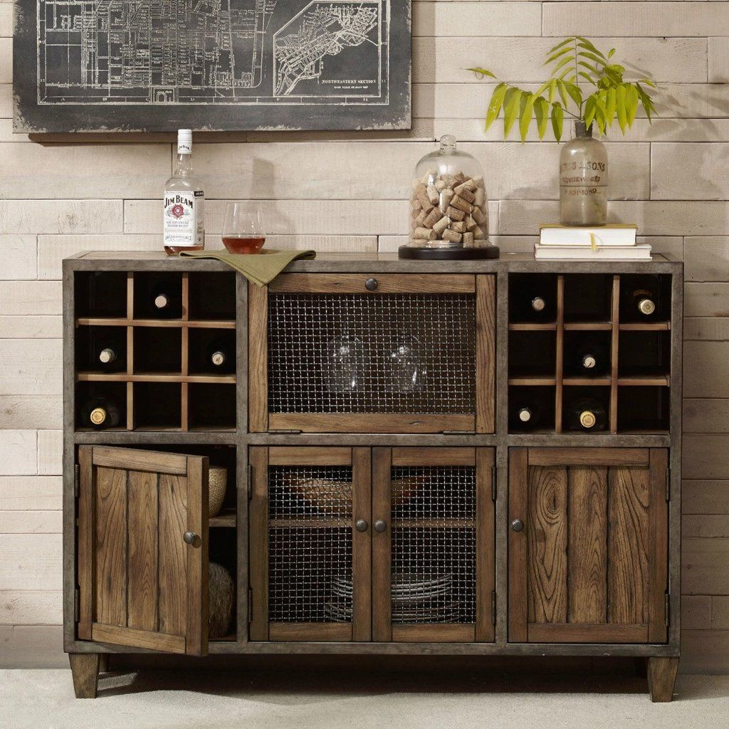 Industrial Rustic Liquor Storage Wine Rack Wood Buffet Inside Wooden Buffets With Two Side Door Storage Cabinets And Stemware Rack (View 7 of 30)