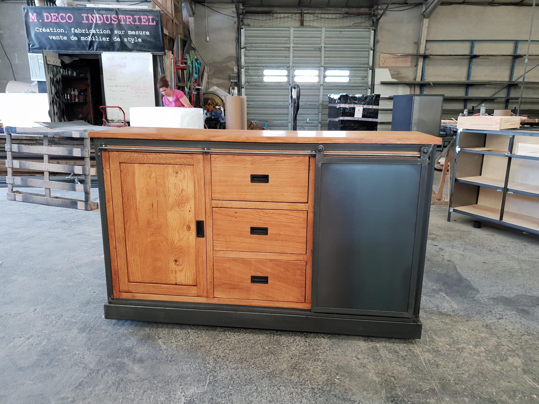 Industrial Sideboard 1 Door Steel Bluish 1 Door Oak 3 Drawer Oak Industrial  Style inside Industrial Style 3-Drawer Buffets (Image 21 of 30)