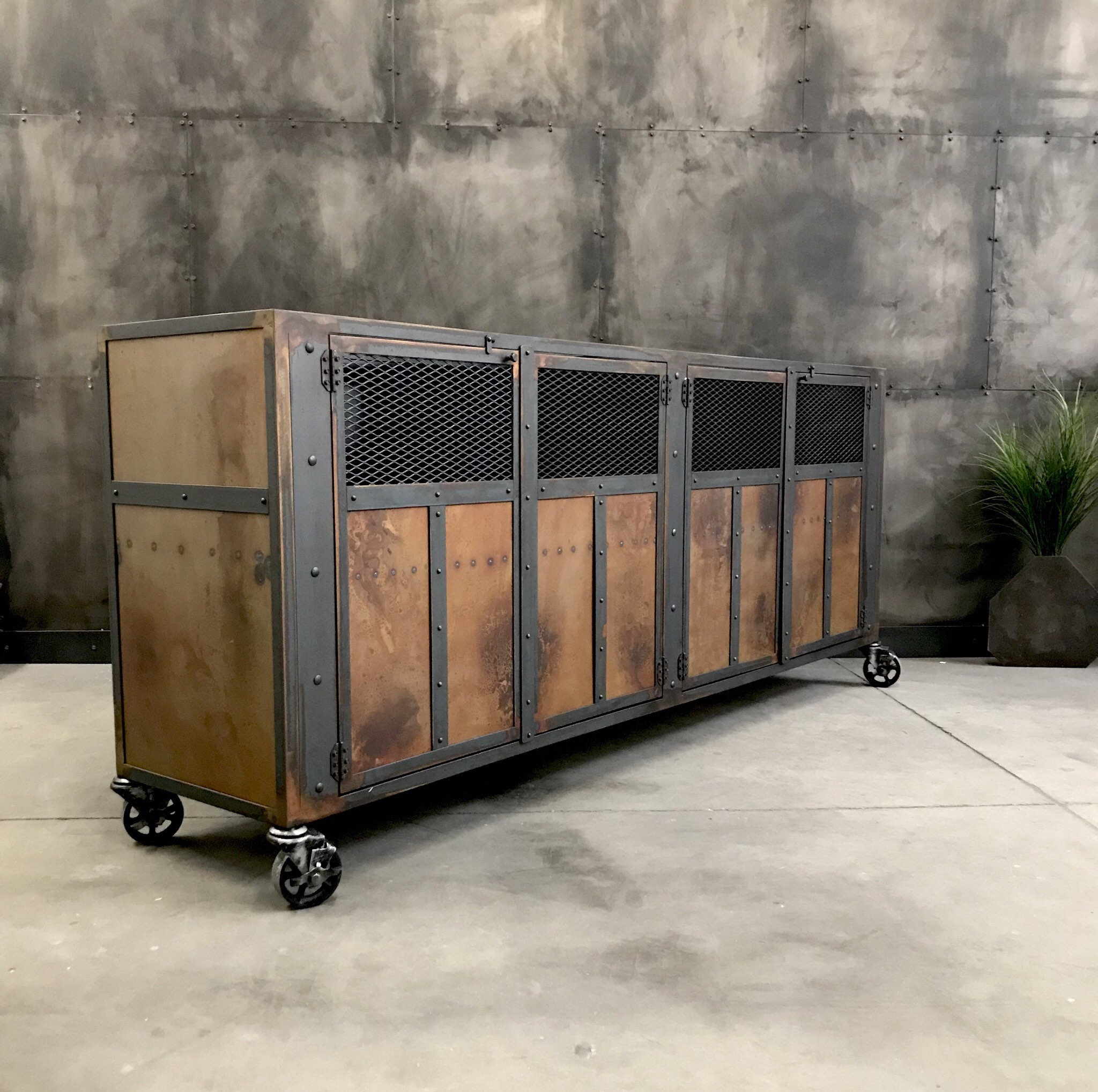 Industrial Torched Steel And Steampunk Themed Buffet, Aged inside Industrial Concrete-Like Buffets (Image 21 of 30)