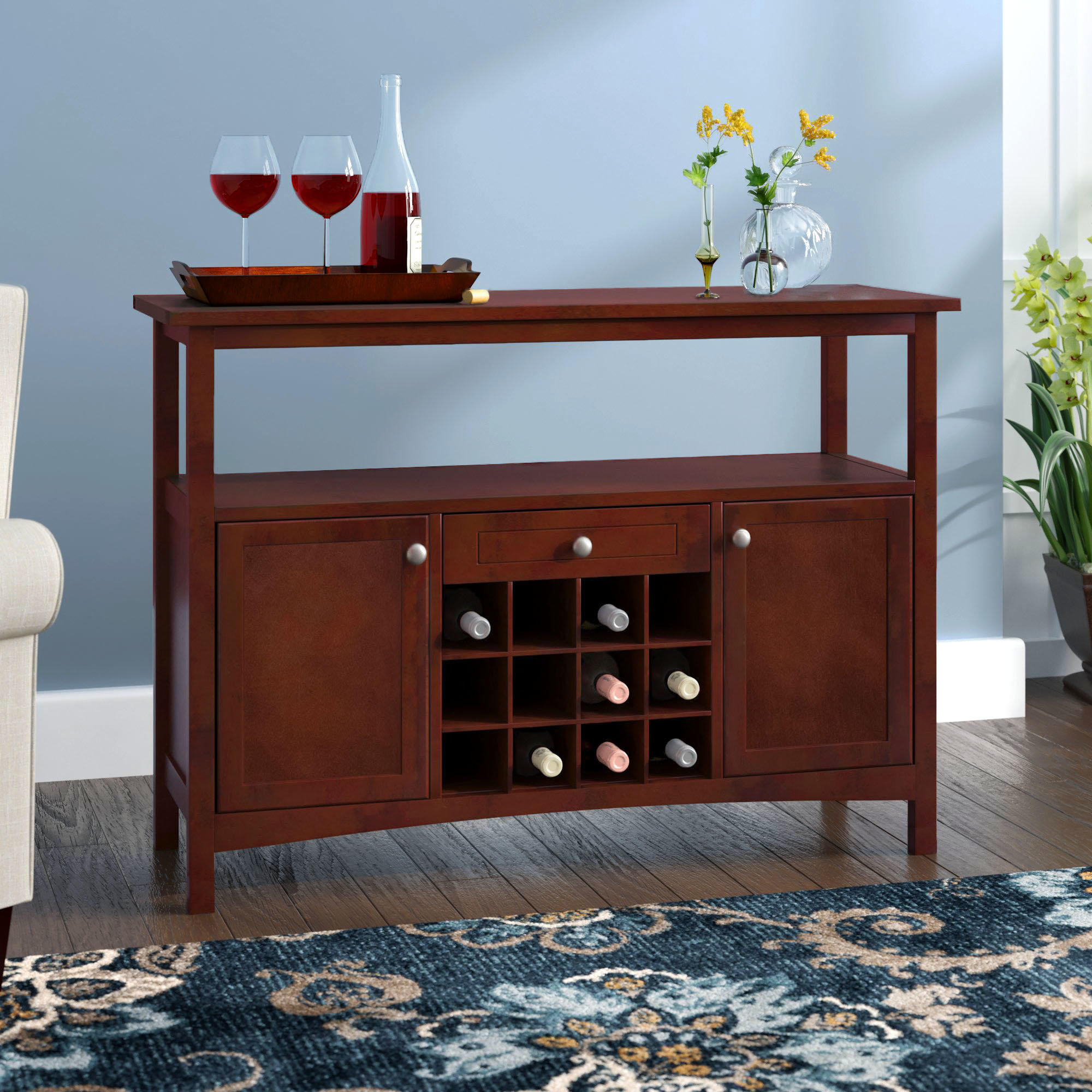 Jennifer Buffet Cabinet with Solid And Composite Wood Buffets In Cappuccino Finish (Image 7 of 30)