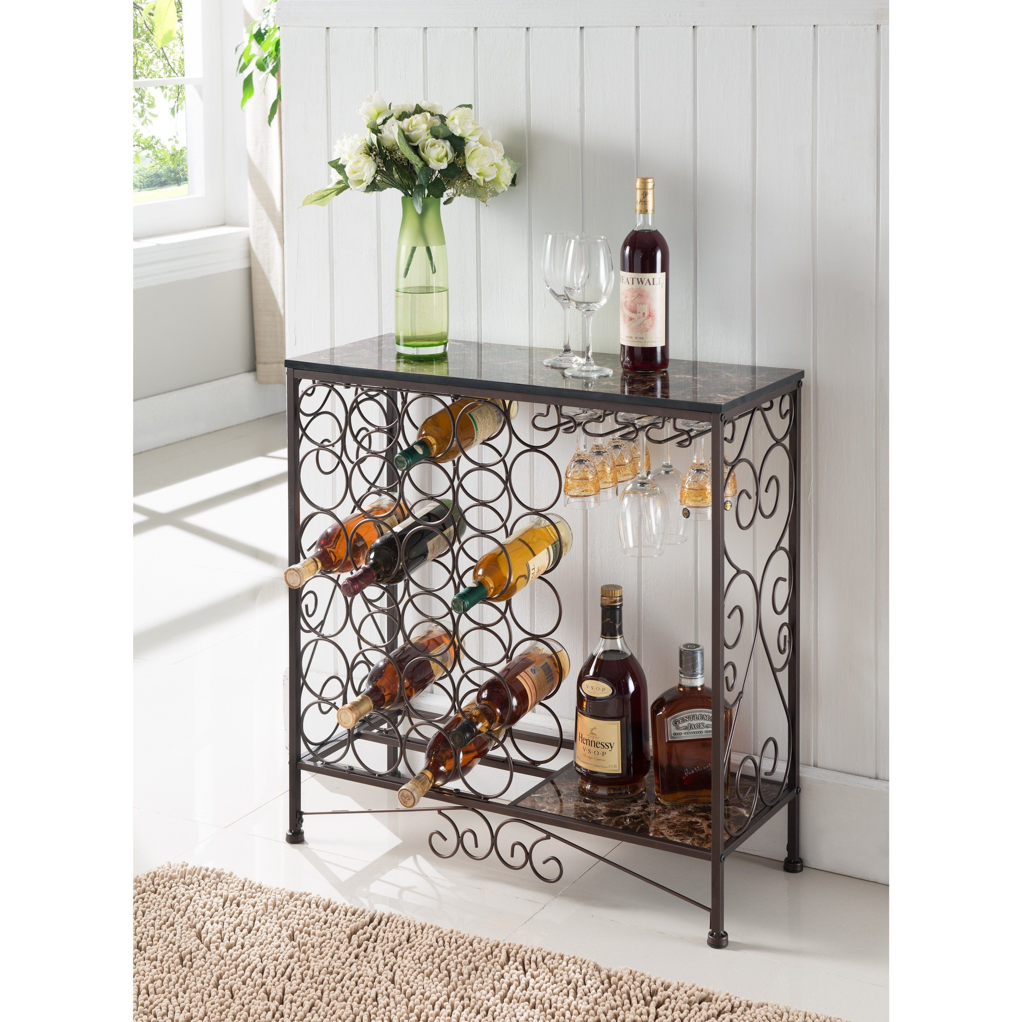 K And B Furniture Co Bronze Metal Storage Wine Rack (Buffet With Regard To Buffets With Bottle And Glass Storage (Photo 1 of 30)