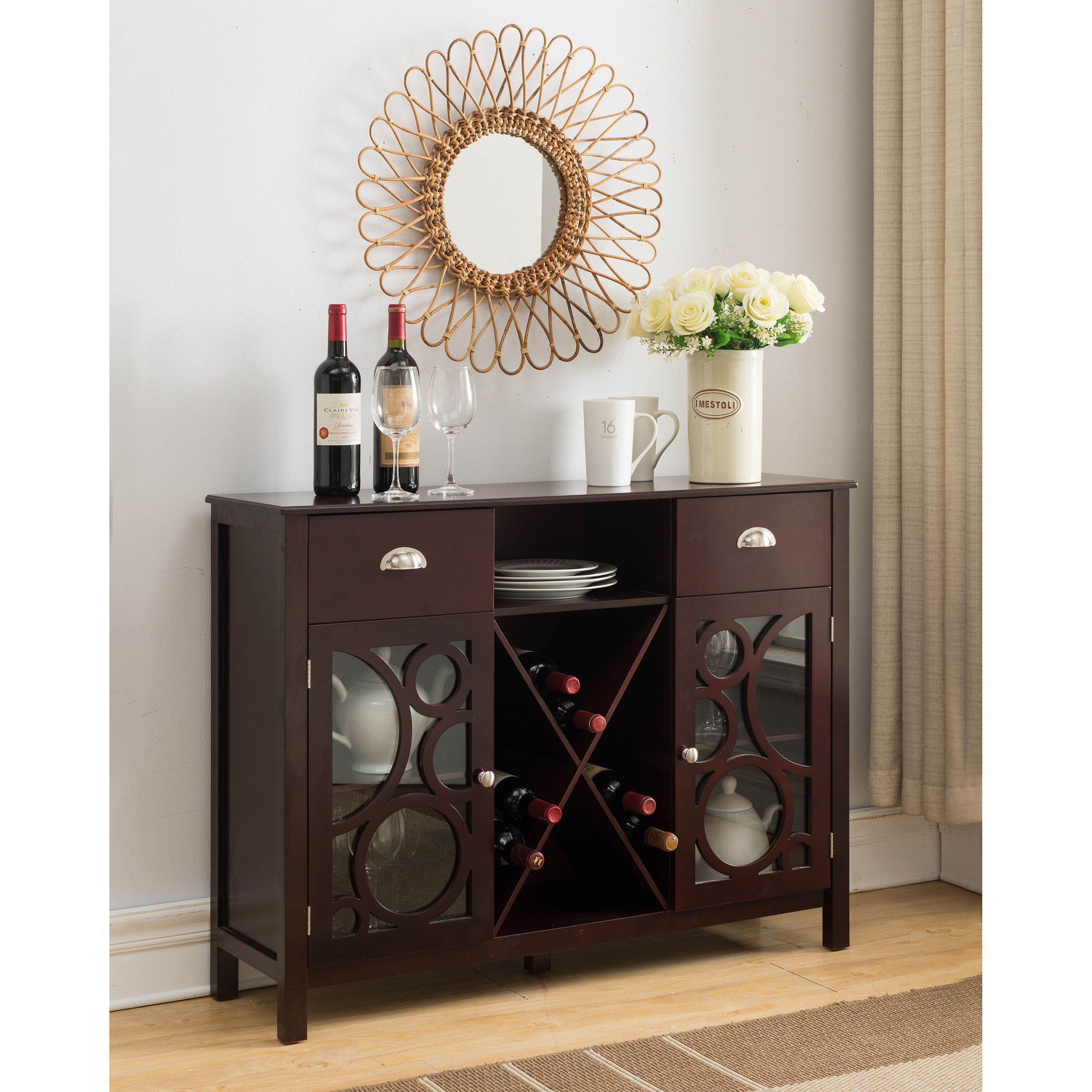K And B Furniture Co Inc Dark Cherry Wood Storage Wine Pertaining To Buffets With Bottle And Glass Storage (Photo 9 of 30)