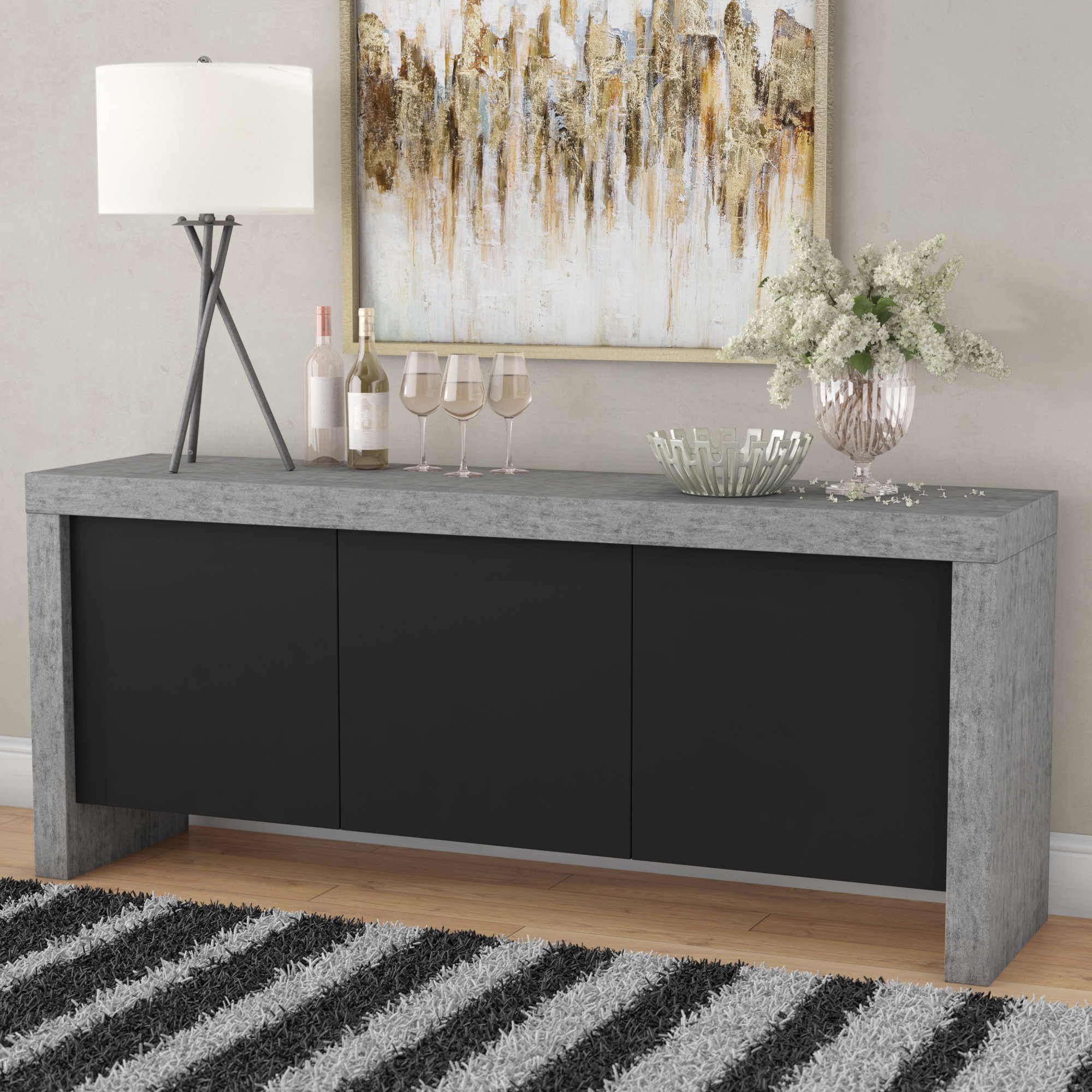 Kassie 3 Door Sideboard | Wayfair Throughout Mauldin 3 Door Sideboards (Photo 26 of 30)