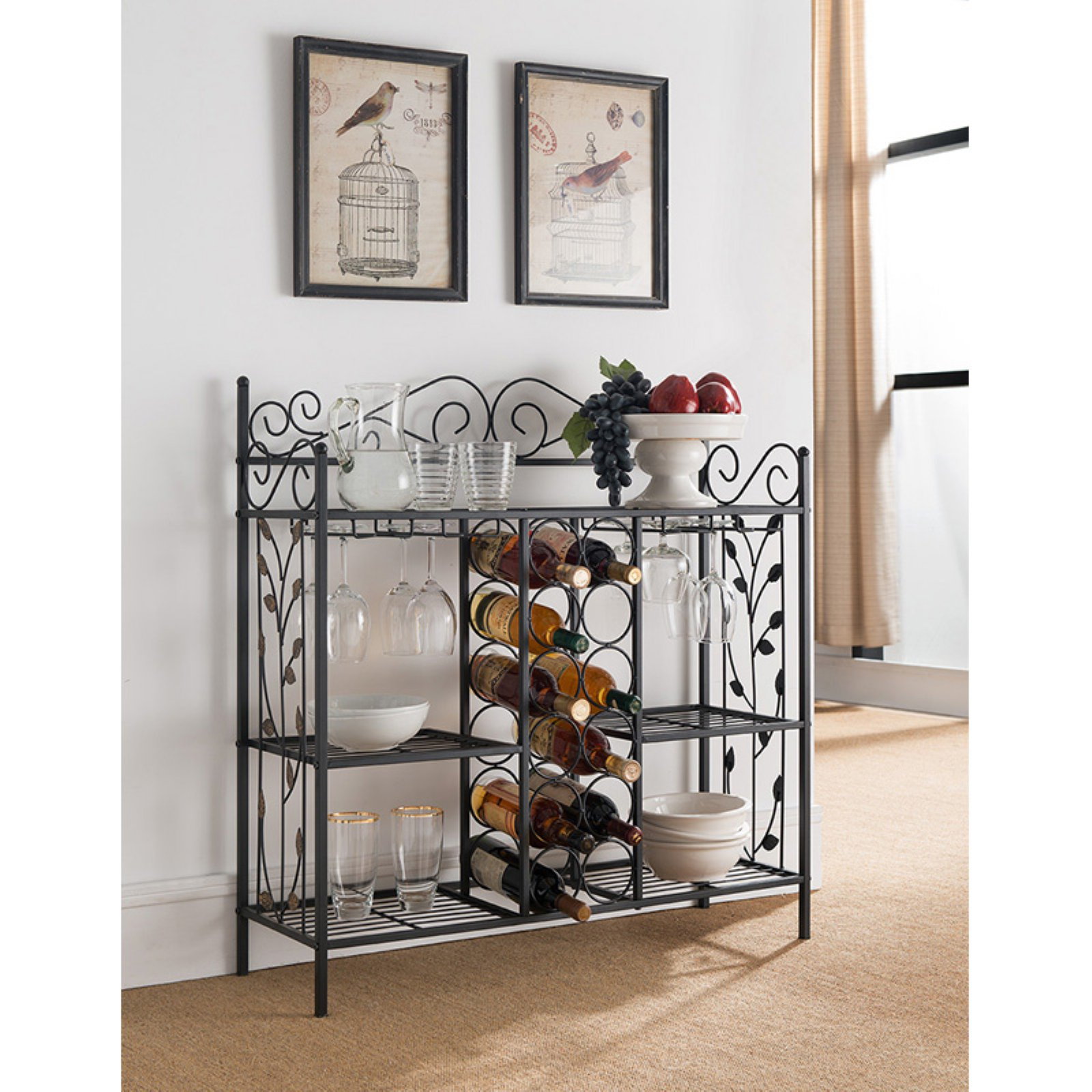 K&b Furniture Black Metal Wine Rack | Products In 2019 With Contemporary Three Tier Glass Buffets With Black Metal Frame (Photo 6 of 30)