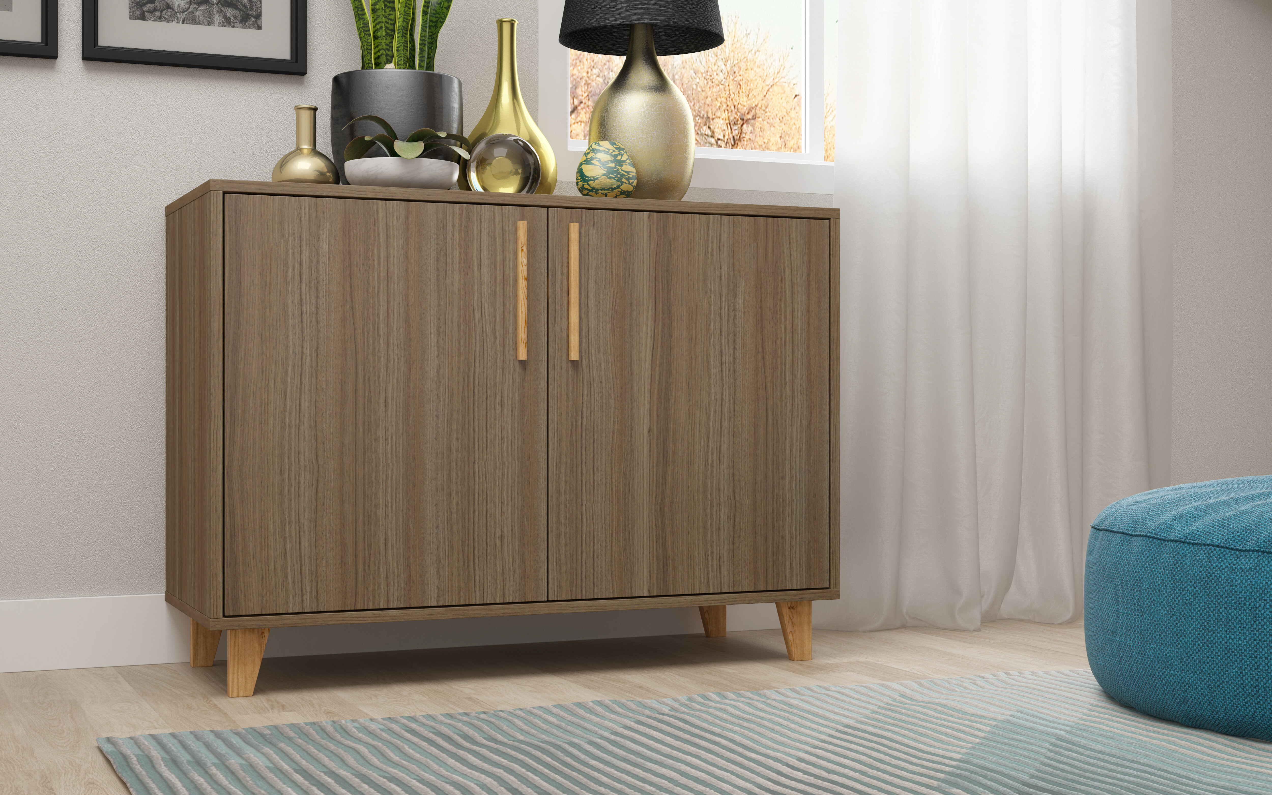 Kennison Mid Century Modern Sideboard pertaining to Mid-Century Brown and Grey Sideboards (Image 14 of 30)