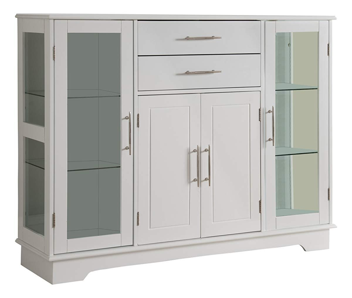 Kings Brand Kitchen Storage Cabinet Buffet With Glass Rio Inside Espresso Sliding Door Stackable Buffets (Photo 30 of 30)