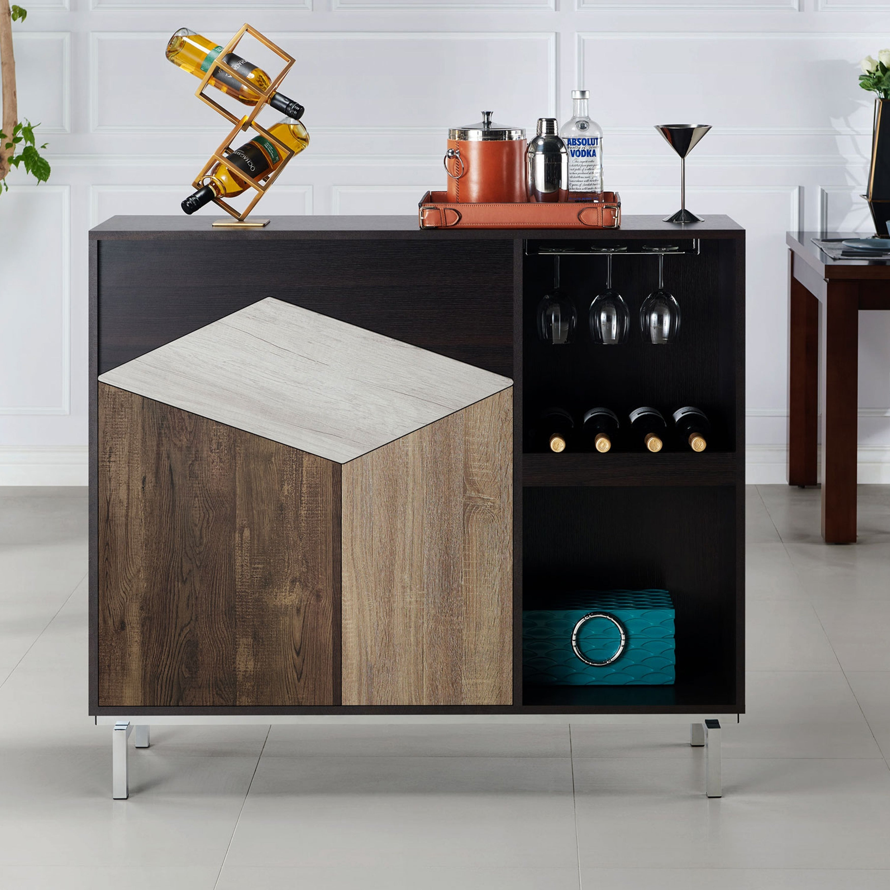 Kirill Modern Espresso Server With Wine Rackfoa Within Carbon Loft Feleni Contemporary Buffets (Photo 10 of 30)