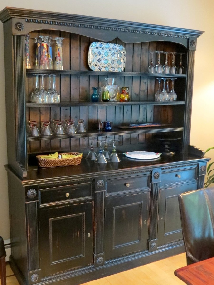 Kitchen Buffet Cabinet Home Furniture Design Furniture Intended For Black Hutch Buffets With Stainless Top (Photo 30 of 30)