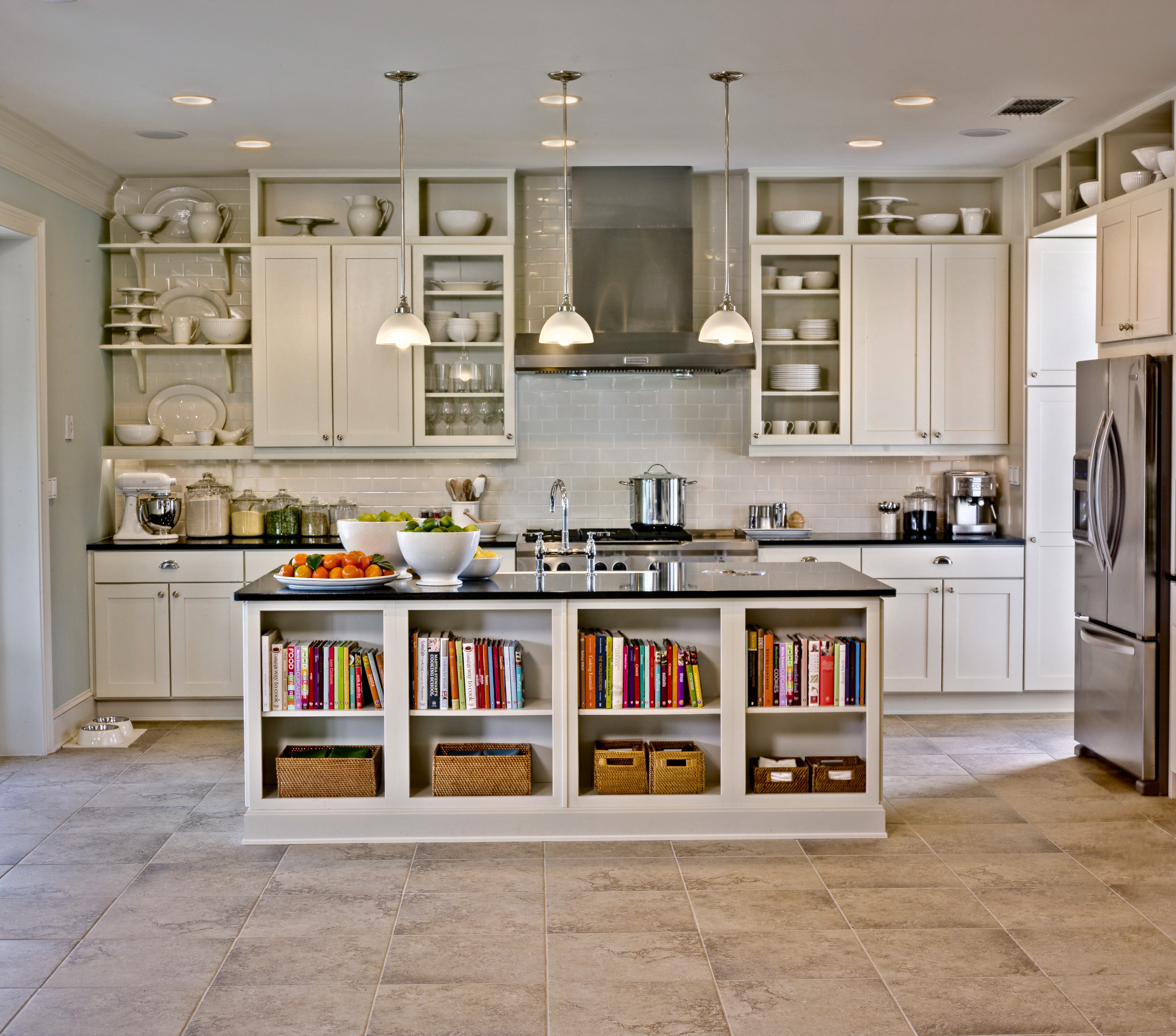 Kitchen Cabinet : White Kitchen Island With Storage Black With Black Hutch Buffets With Stainless Top (Photo 24 of 30)