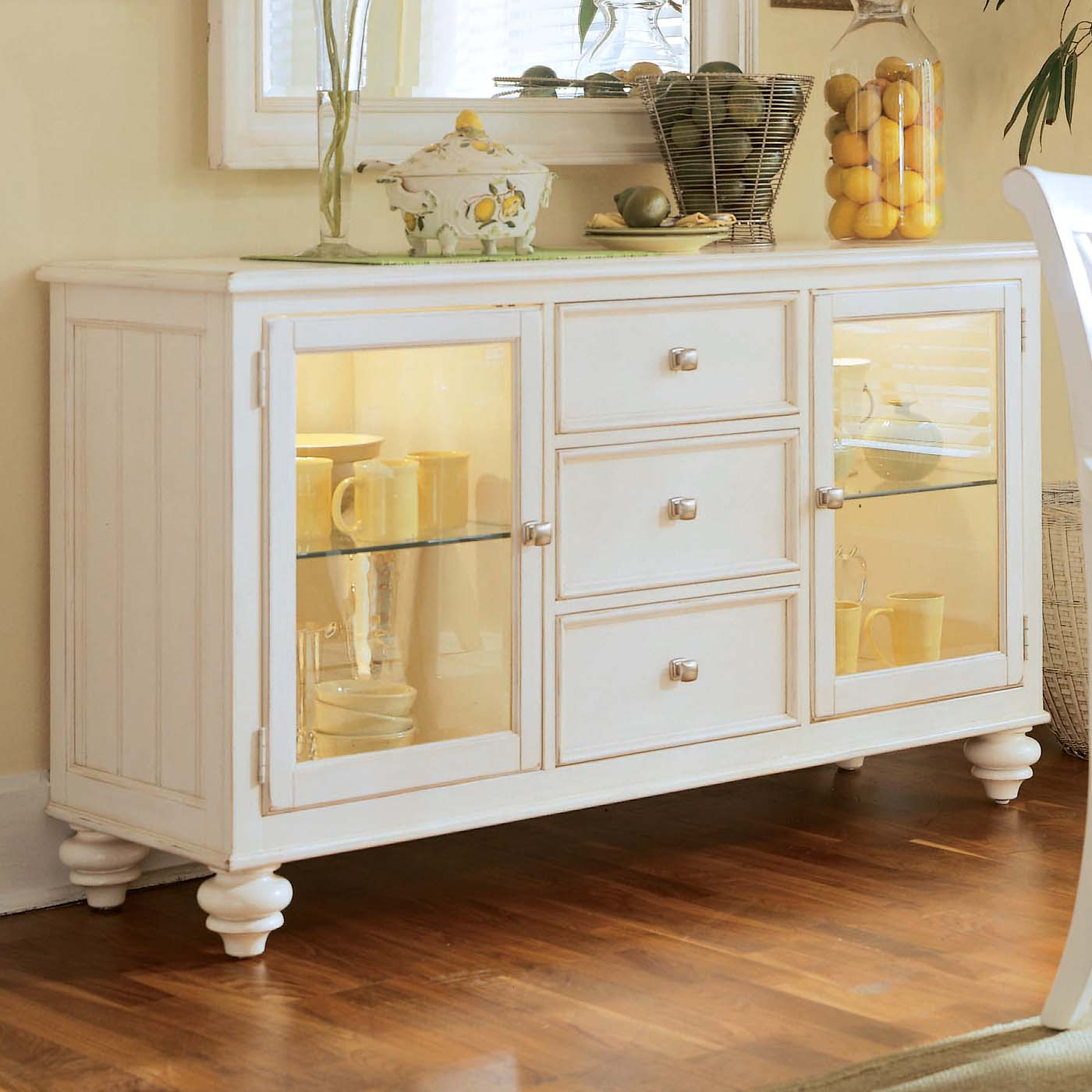 Kitchen Hutch Furniture Glass Door — Furniture Ideas And Regarding Simple Living Antique White Kendall Buffets (Photo 25 of 30)