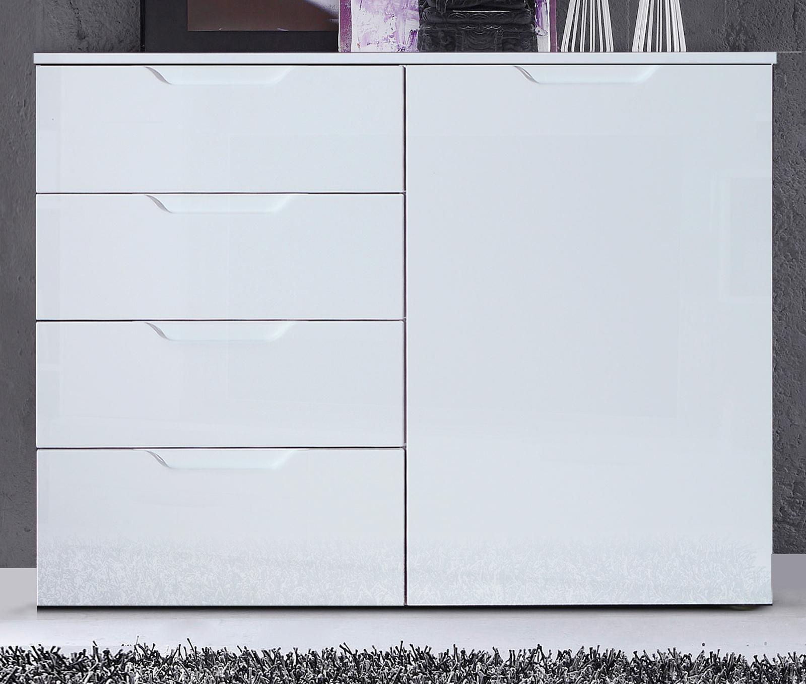 Kommode Sienna In Hochglanz Weiß Anrichte 110 X 85 Cm Sideboard With Regard To Sienna Sideboards (View 7 of 30)