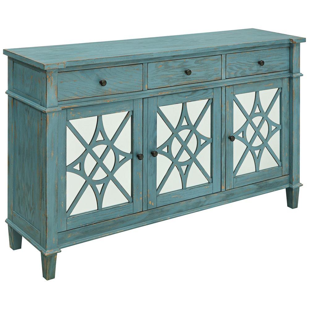 Kyla Blue Skies Rub Wood 3 Drawer 3 Door Media Credenza Within Mauldin 3 Door Sideboards (Photo 17 of 30)