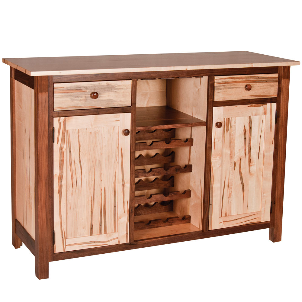 Lamar Amish Wine Buffet Throughout 2 Shelf Buffets With Curved Legs (View 20 of 30)