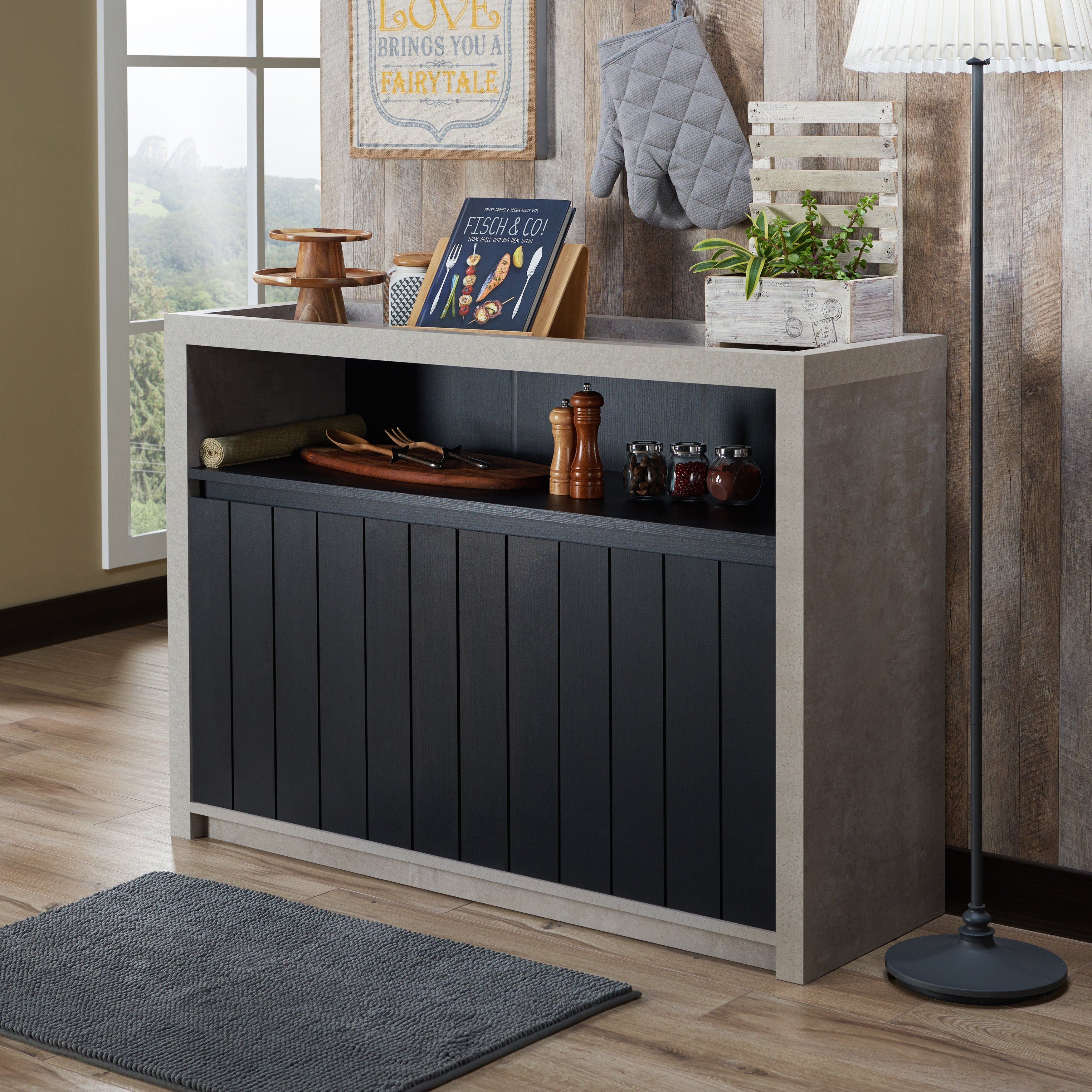 Featured Photo of Industrial Cement Like Multi Storage Dining Buffets