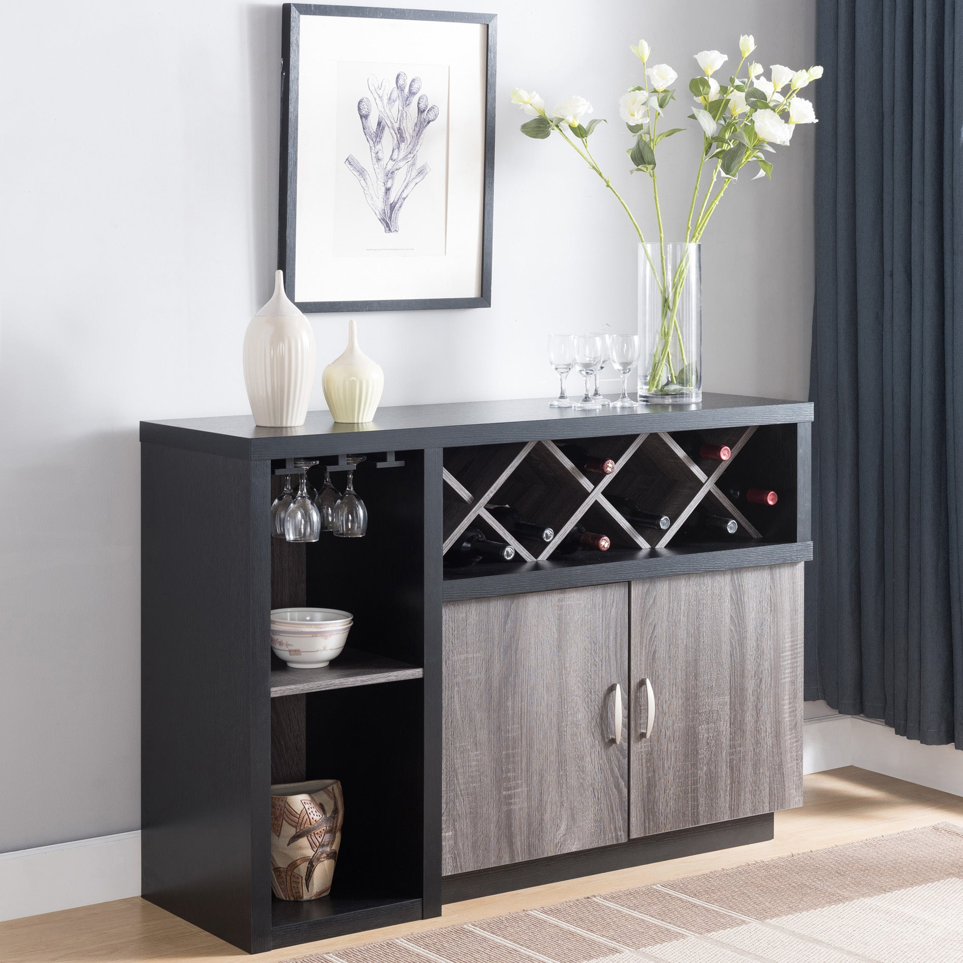 Lantana Contemporary Distressed Grey Buffetfoa Regarding Wooden Buffets With Two Side Door Storage Cabinets And Stemware Rack (View 20 of 30)