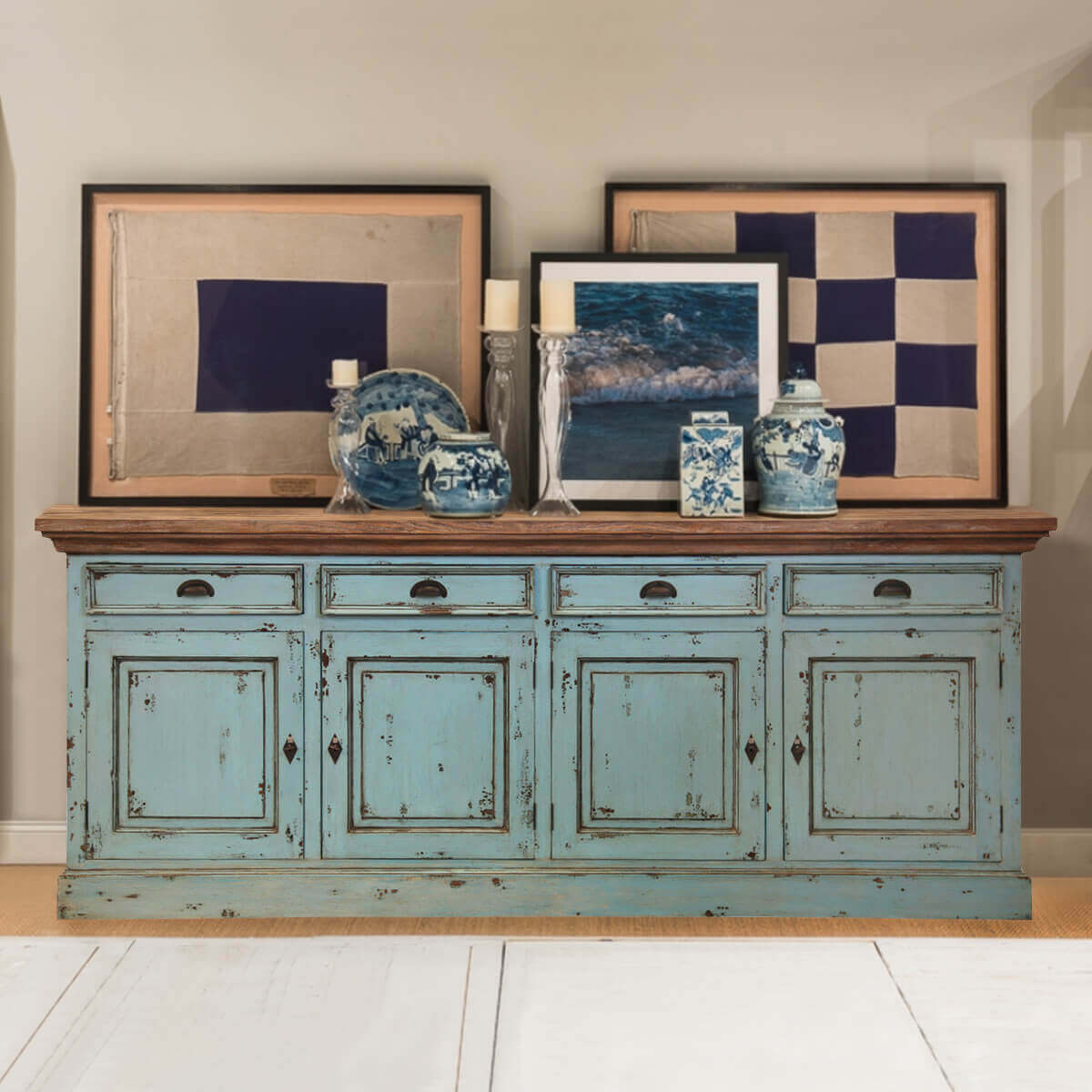 Large Blue Sideboard Cabinet Media Center Buffets Media With Simple Living Layla Black Buffets (View 19 of 30)