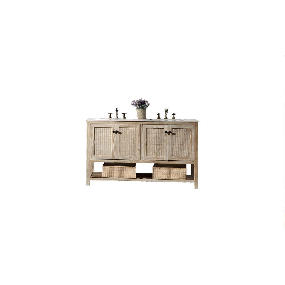 Legion Furniture 60 In.white Wash Vanity In White Marble Top within Arminta Wood Sideboards (Image 13 of 30)