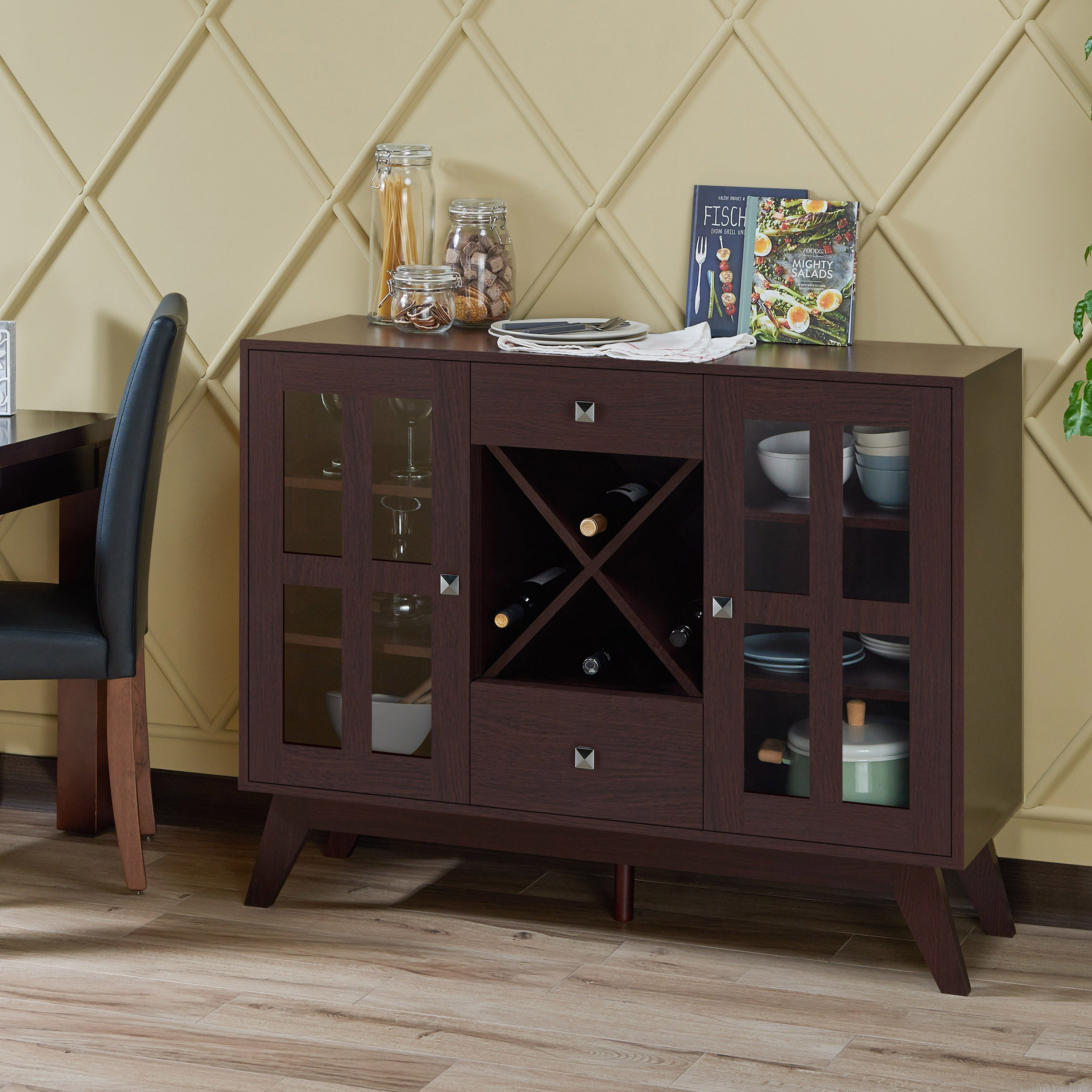 Popular Photo of Contemporary Espresso 2 Cabinet Dining Buffets