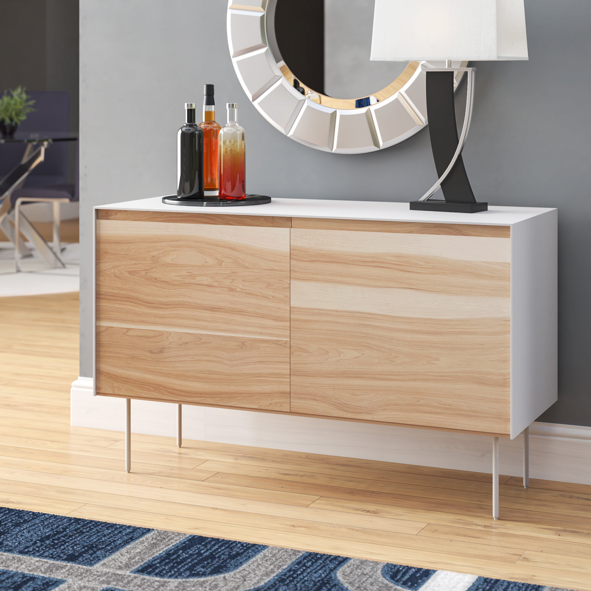 Leticia 2 Door Server | Wayfair throughout Line Geo Credenzas (Image 20 of 30)