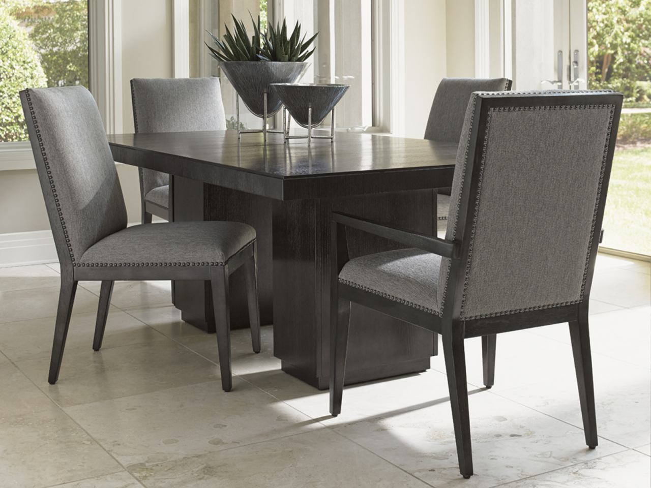 Lexington Furniture Carrera 5 Piece Double Pedestal Dining Set In Carbon Gray Intended For Carrera Contemporary Black Dining Buffets (View 27 of 30)