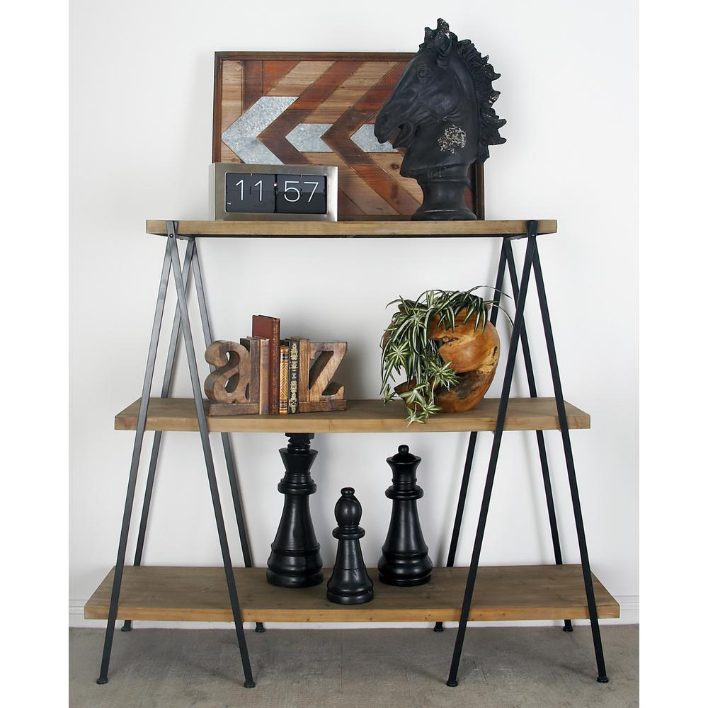 Light Brown 3 Tier Shelf With Polished Black Iron Legs Throughout Contemporary Three Tier Glass Buffets With Black Metal Frame (View 12 of 30)