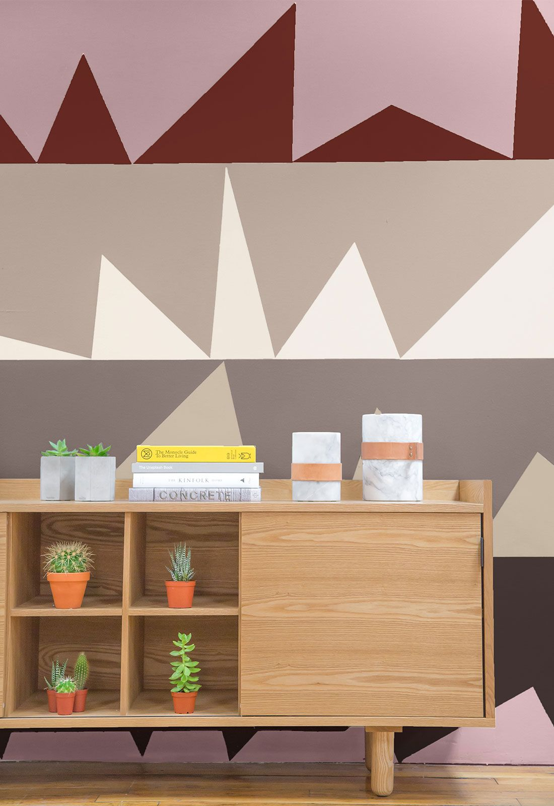 Light Wood Credenza Against A Wall Featuring Geometric with Multi Colored Geometric Shapes Credenzas (Image 22 of 30)