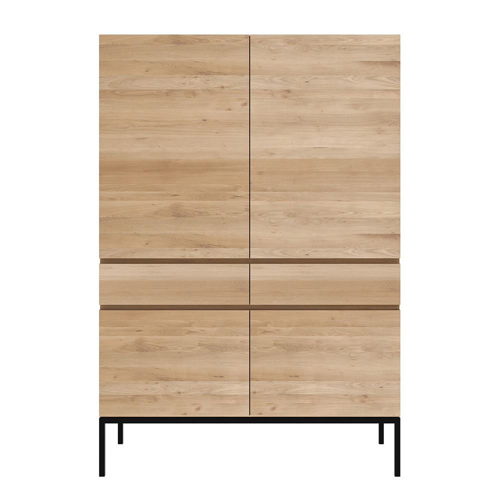 Ligna Storage Cupboard – 4 Doors, 2 Drawers, Oak, Black Metal Legs For Contemporary Wooden Buffets With One Side Door Storage Cabinets And Two Drawers (View 19 of 30)