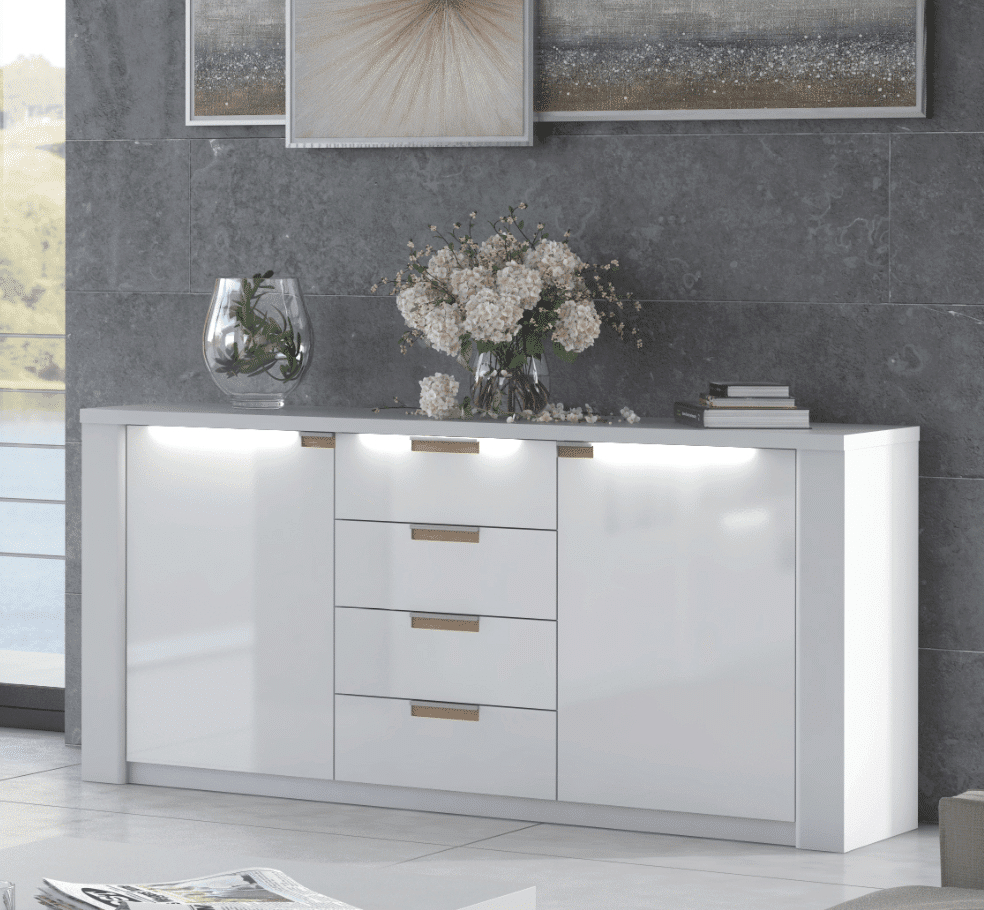 Linsy Modern White High Gloss Wide Sideboard within Thite Sideboards (Image 15 of 30)