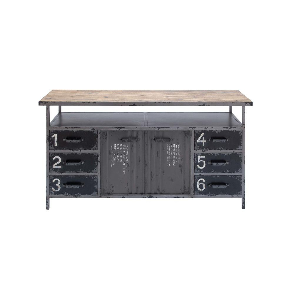 Litton Lane Gray Industrial Metal And Wood Utility Buffet Regarding Industrial Style 3 Drawer Buffets (View 22 of 30)