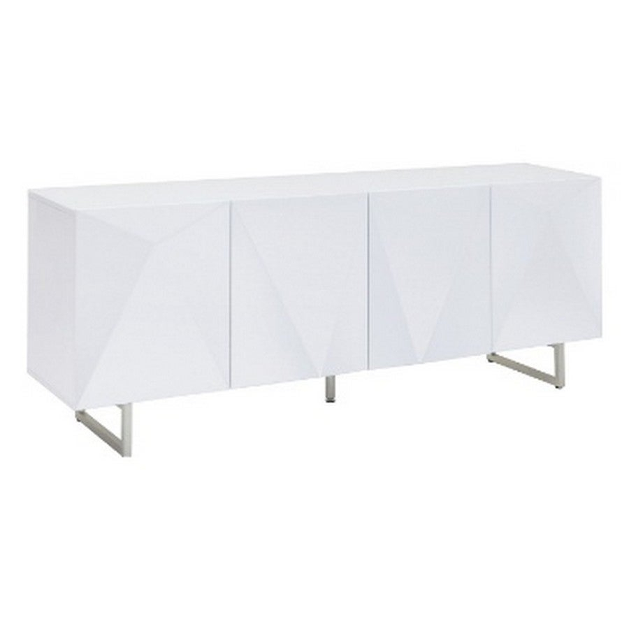 Living Room Furniture Sb1180 Wht Paul Buffet, 5mm Pure Tempered White Glass Top, High Gloss White, Design On Doors, Metal Legs With Brushed Nickel For White Wood And Chrome Metal High Gloss Buffets (View 24 of 30)