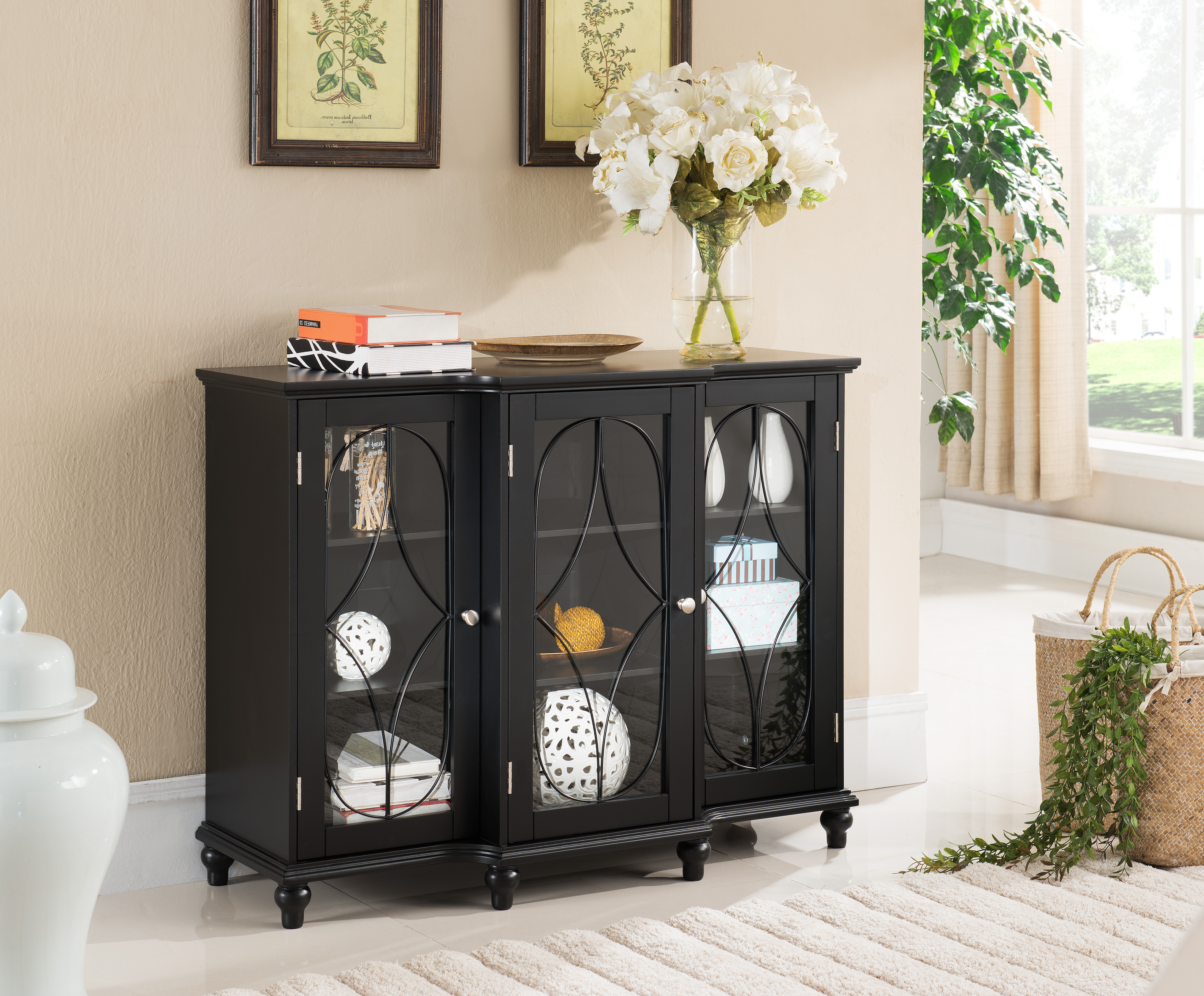 Logan Black Wood Contemporary Sideboard Buffet Console Table China Cabinet With Glass Doors & Storage With Regard To Contemporary Rolling Buffets (View 21 of 30)