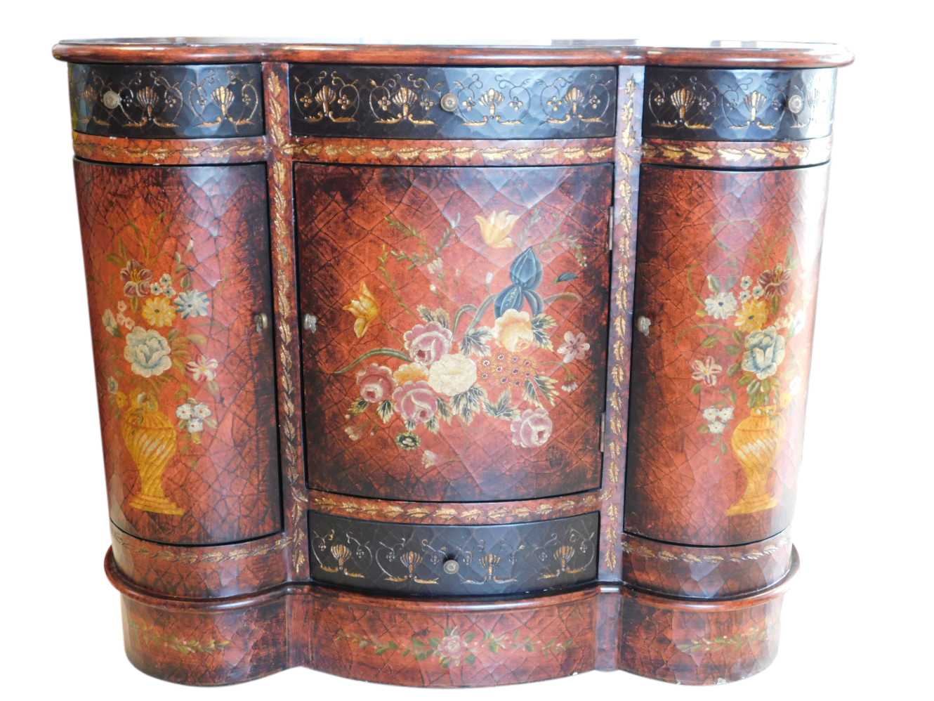 Lovely Scalloped Top Console Table, Cabinet, Painted, Floral, (View 12 of 30)