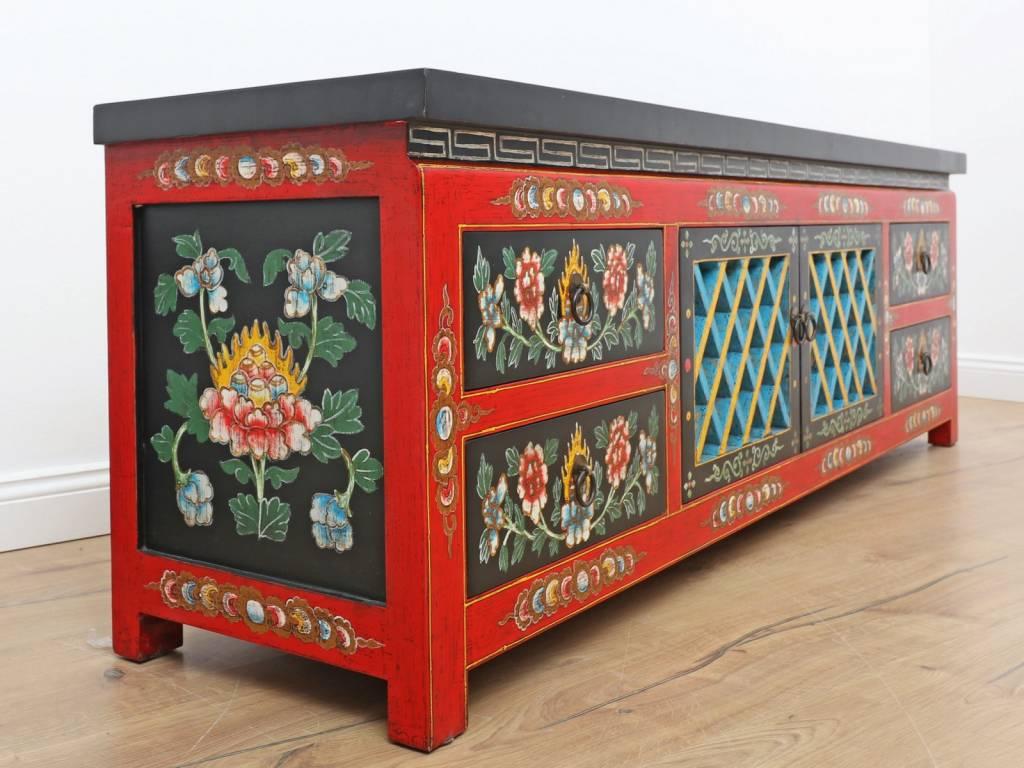 Lowboard Aus Tibet – Handbemalt Mit 5 Türen | Yajutang Regarding Cher Sideboards (View 18 of 30)