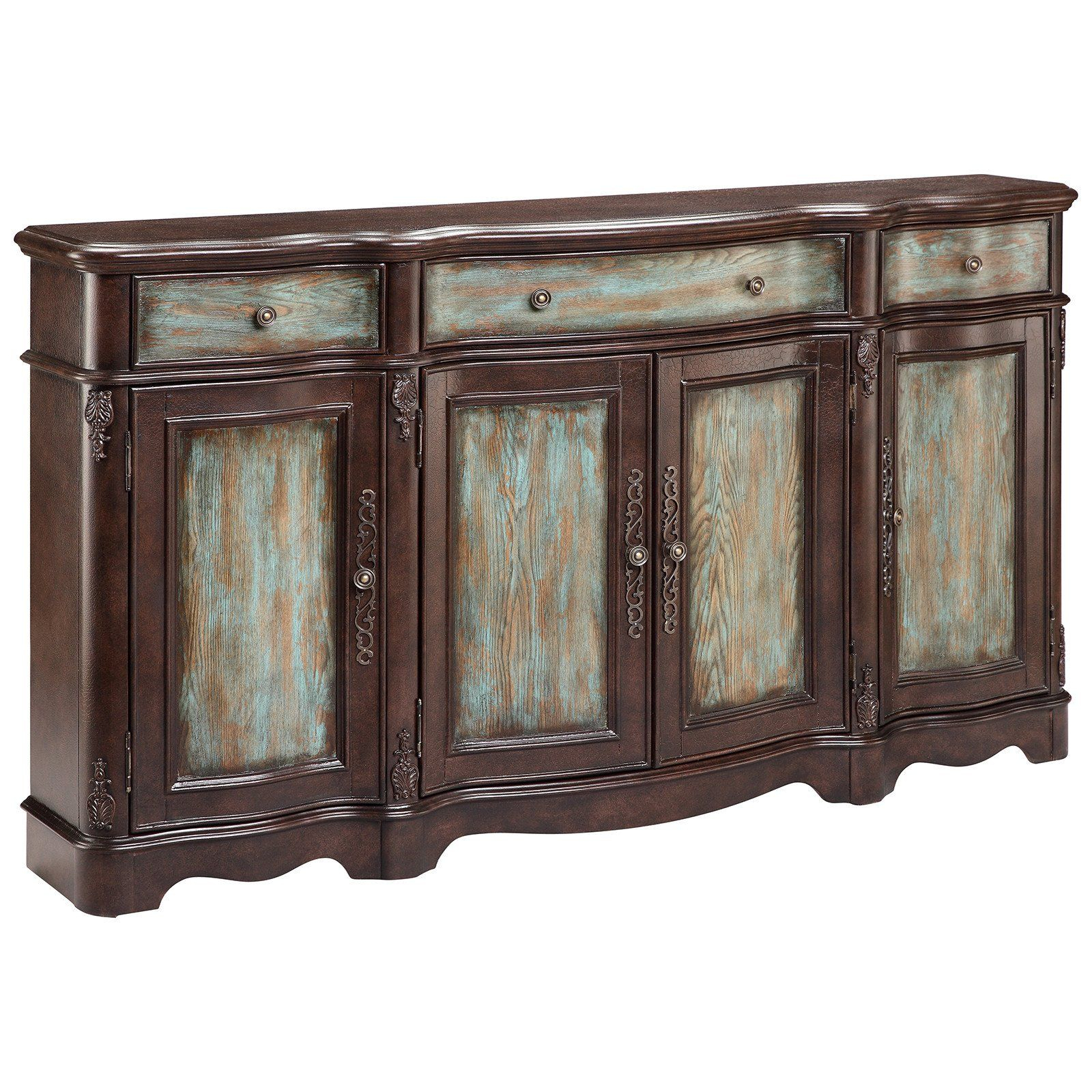 Lyle 4 Door Sideboard In Brown And Blue | Credenzas, Chests With Saint Gratien Sideboards (View 18 of 30)