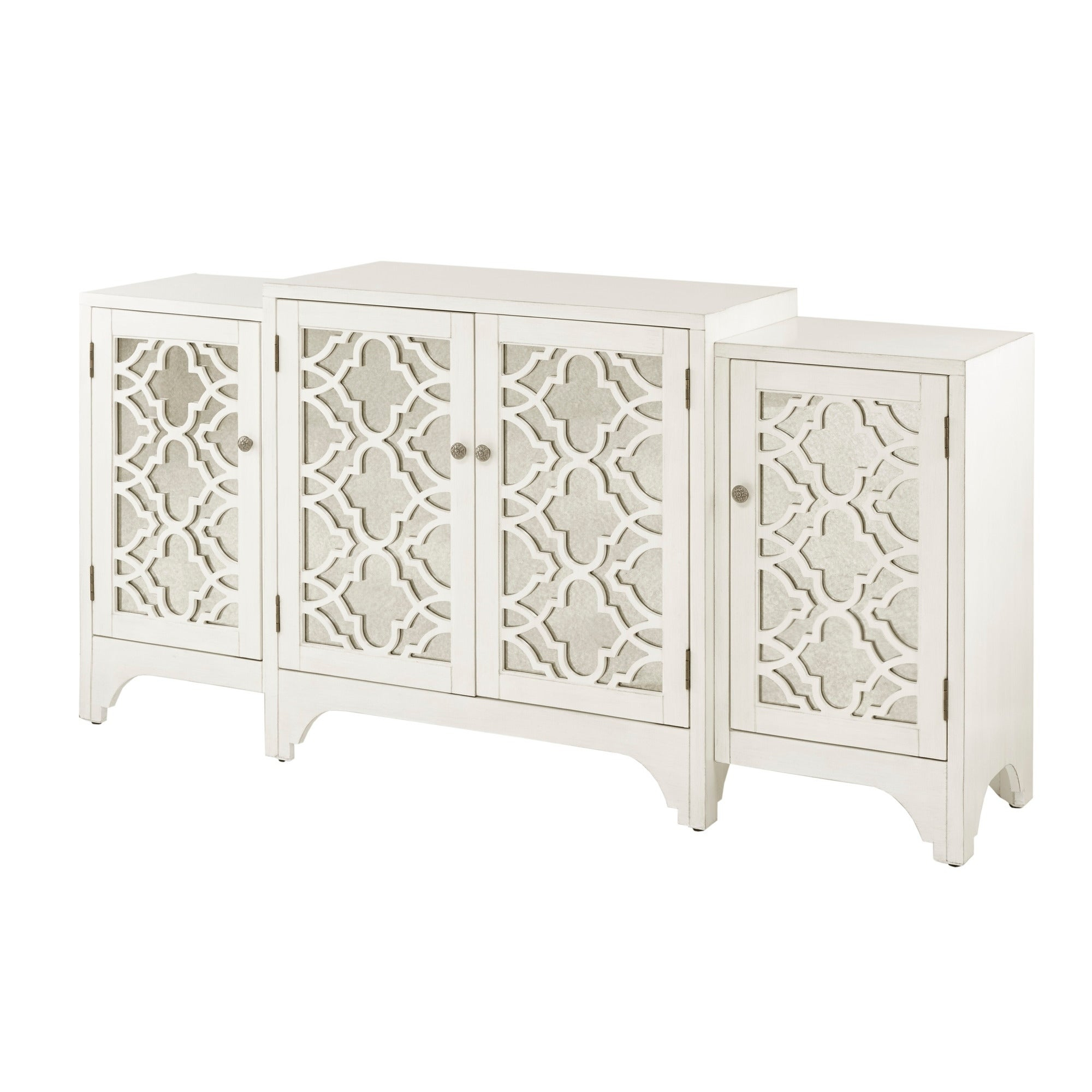 Madison Park Nevaeh Cream Dining Buffet Server Quatrefoil Design With  Mirrored Doors for 3-Piece Mirrored Buffets (Image 14 of 30)