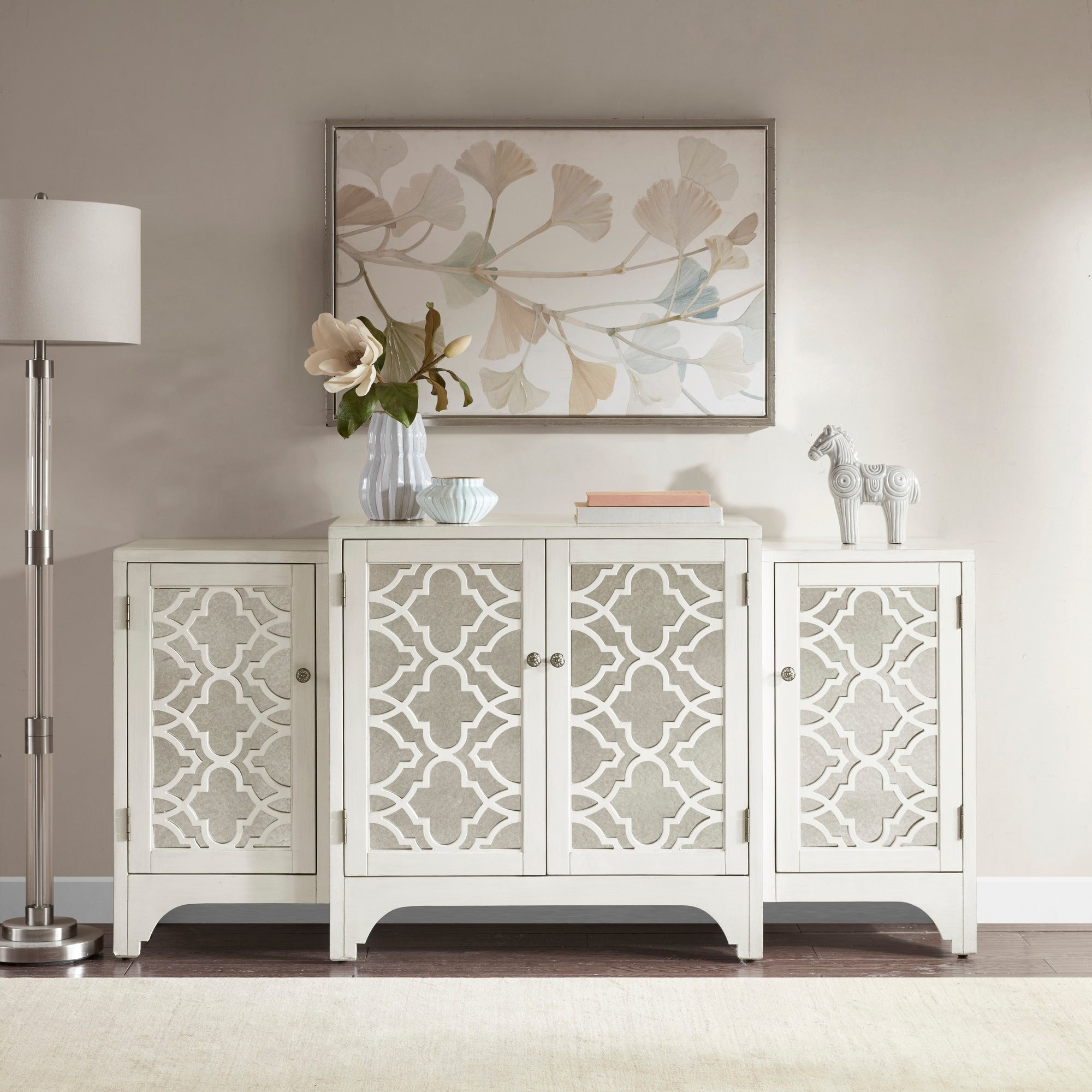 Madison Park Nevaeh Cream Dining Buffet Server Quatrefoil Design With  Mirrored Doors pertaining to 3-Piece Mirrored Buffets (Image 15 of 30)