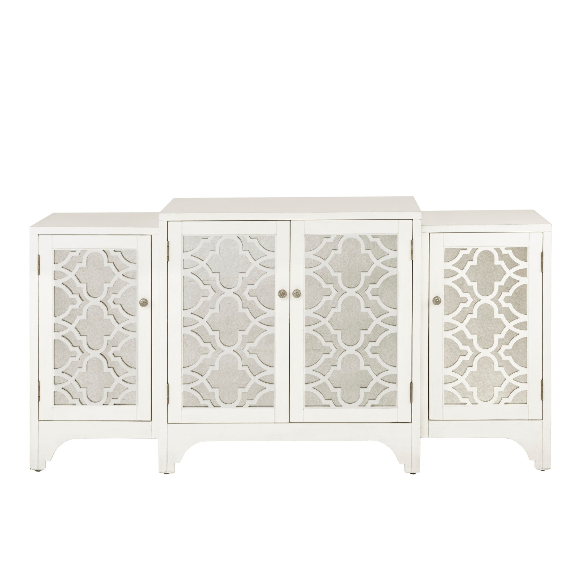 Madison Park Nevaeh Cream Dining Buffet Server Quatrefoil Design With  Mirrored Doors with regard to 3-Piece Mirrored Buffets (Image 16 of 30)