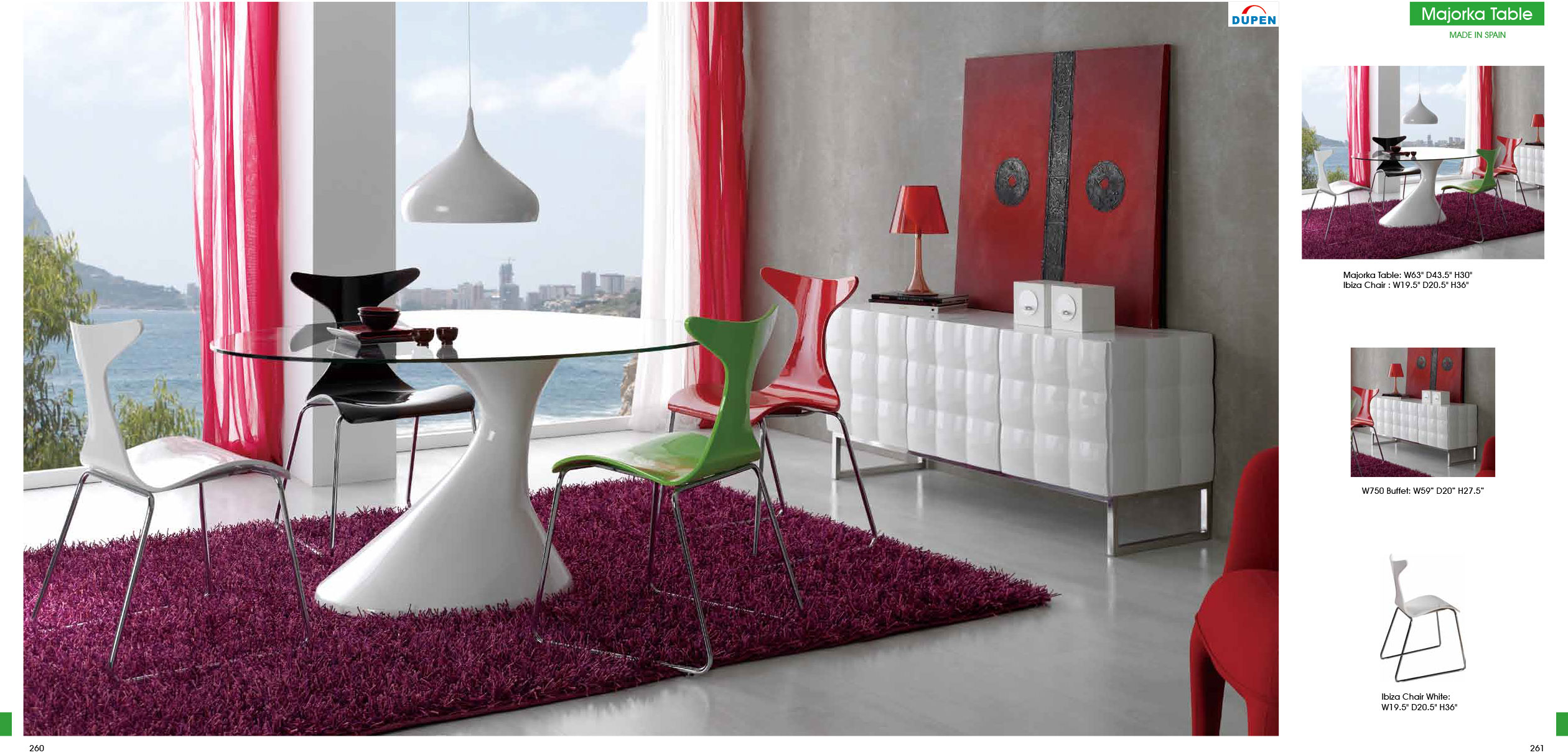 Majorka Table Dt05 W/ibiza Chairs Ch1002, 750 Buffet In Modern Red Buffets (View 14 of 30)