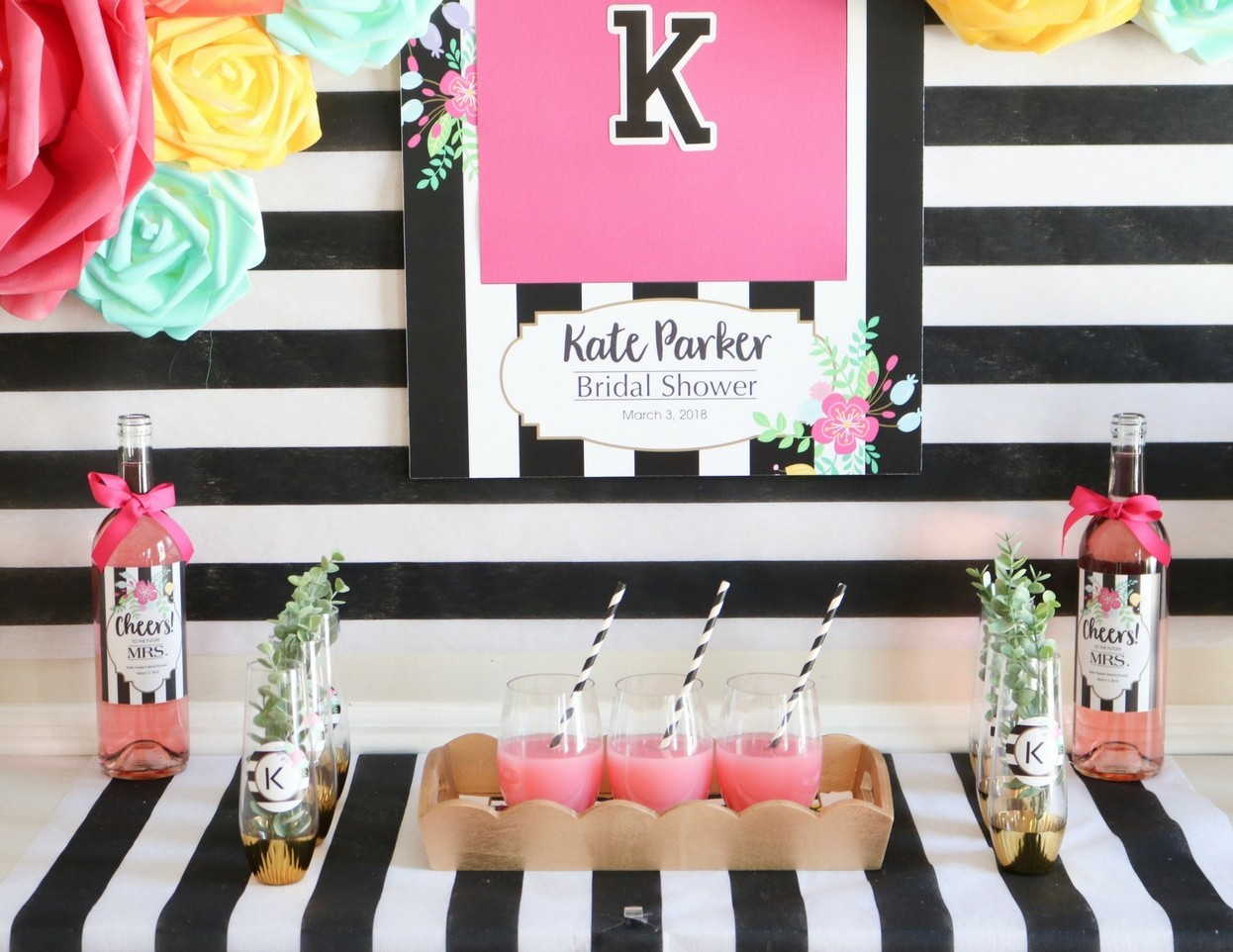 Make A Bridal Shower Backdrop & Buffet | Fun365 Within Six Stripes Buffets (View 22 of 30)
