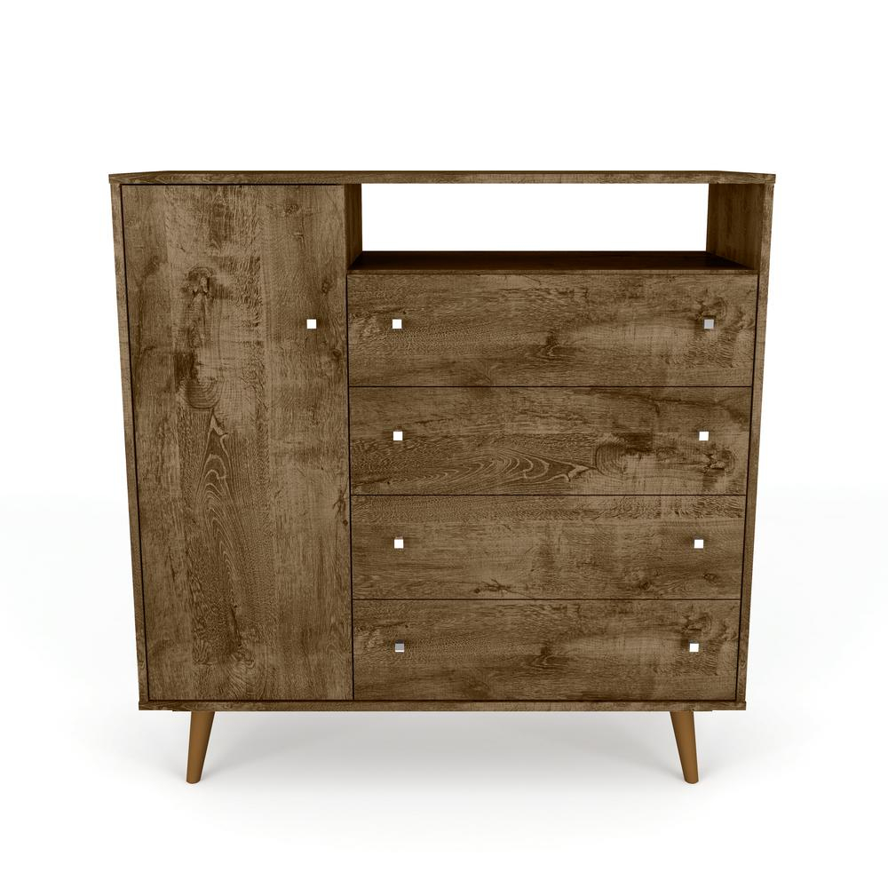 Manhattan Comfort Liberty 42.32 In. 4-Drawer Rustic Brown Sideboard inside Mid-Century Brown and Grey Sideboards (Image 17 of 30)