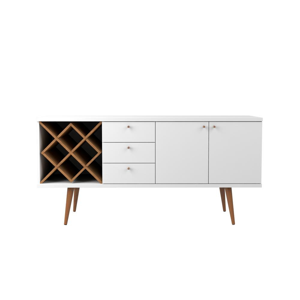 Manhattan Comfort Utopia 4 Bottle White Gloss And Maple Within Contemporary Wooden Buffets With One Side Door Storage Cabinets And Two Drawers (View 14 of 30)