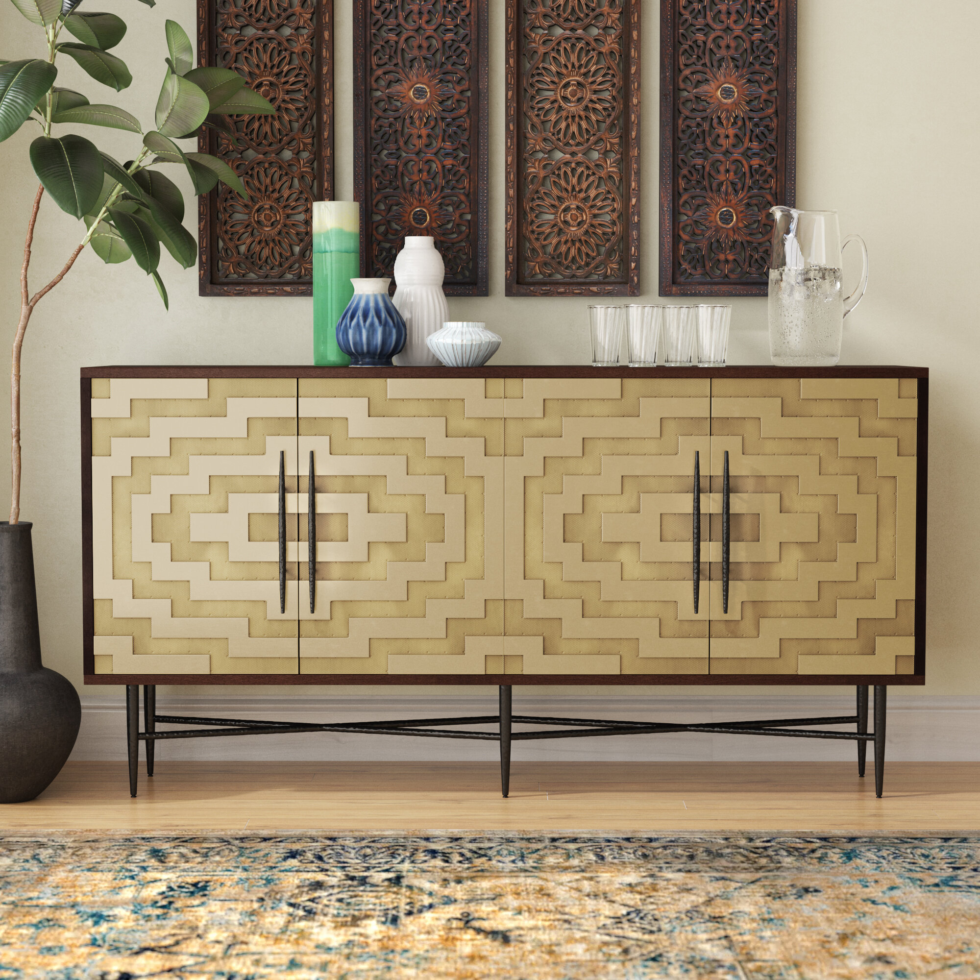 Marcantonio Brass Buffet Table Inside Armelle Sideboards (Image 17 of 30)