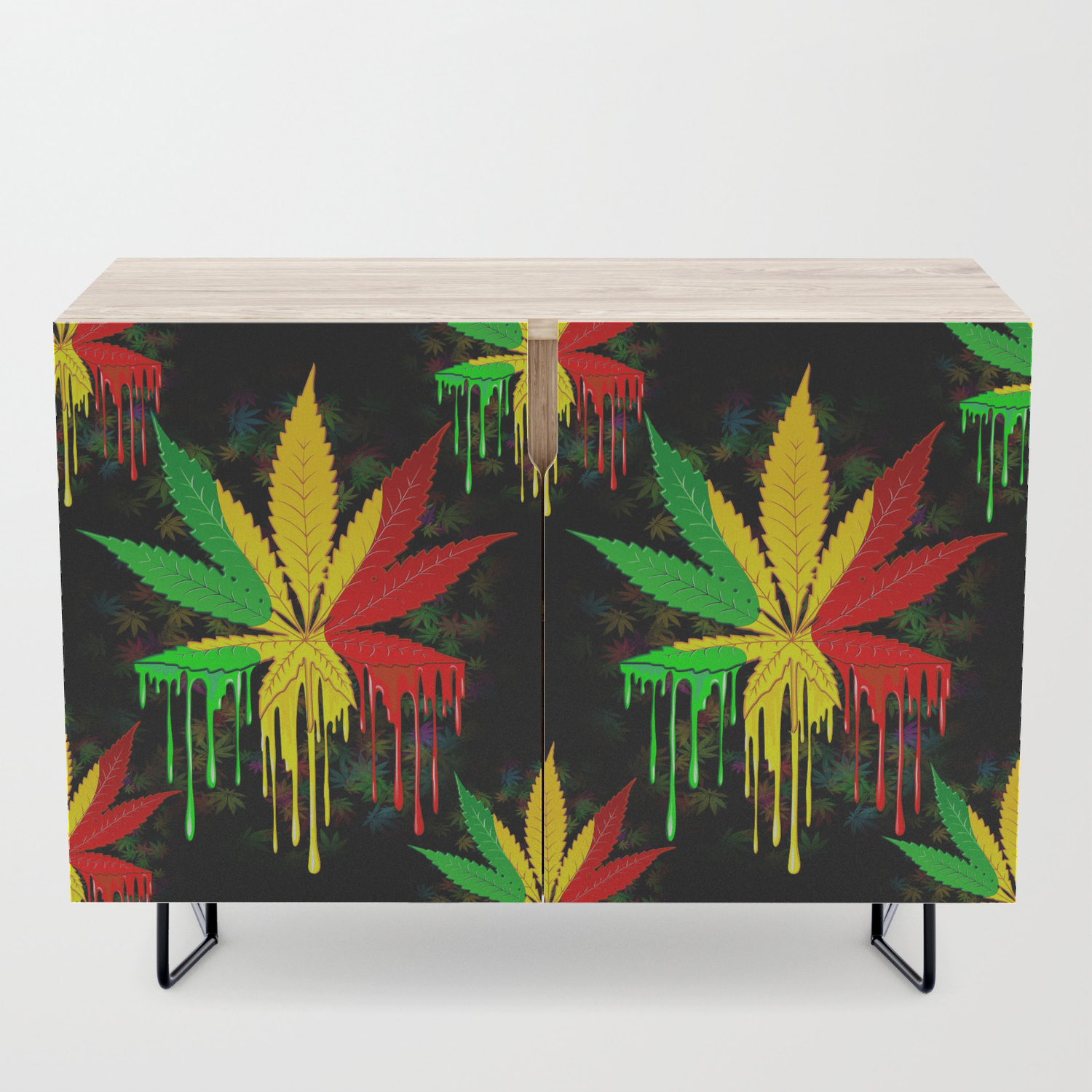 Marijuana Leaf Rasta Colors Dripping Paint Credenza throughout Colorful Leaves Credenzas (Image 22 of 30)