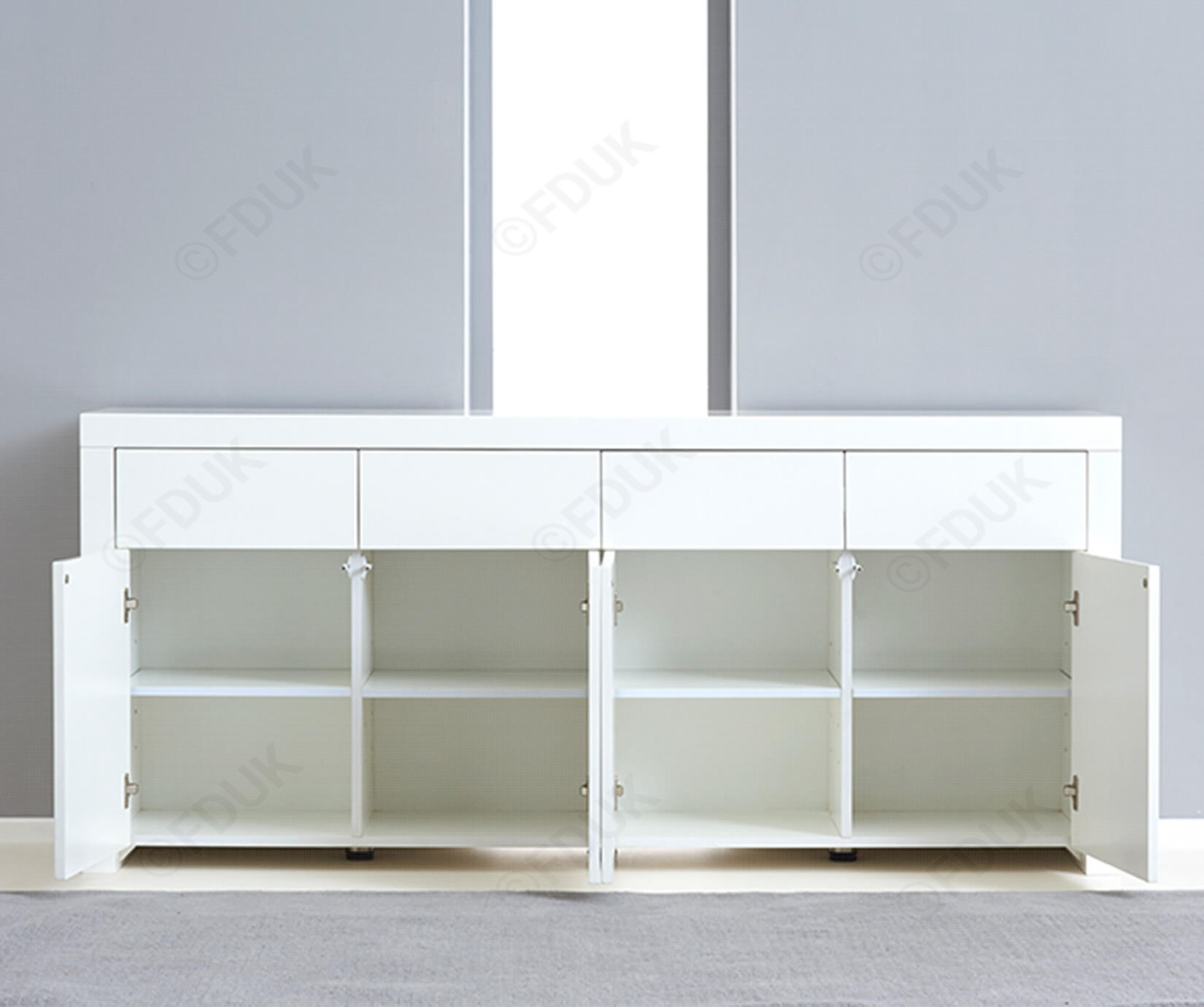 Mark Harris Hereford 4 Door 4 Drawer White High Gloss Sideboard With Malibu 2 Door 4 Drawer Sideboards (View 17 of 30)