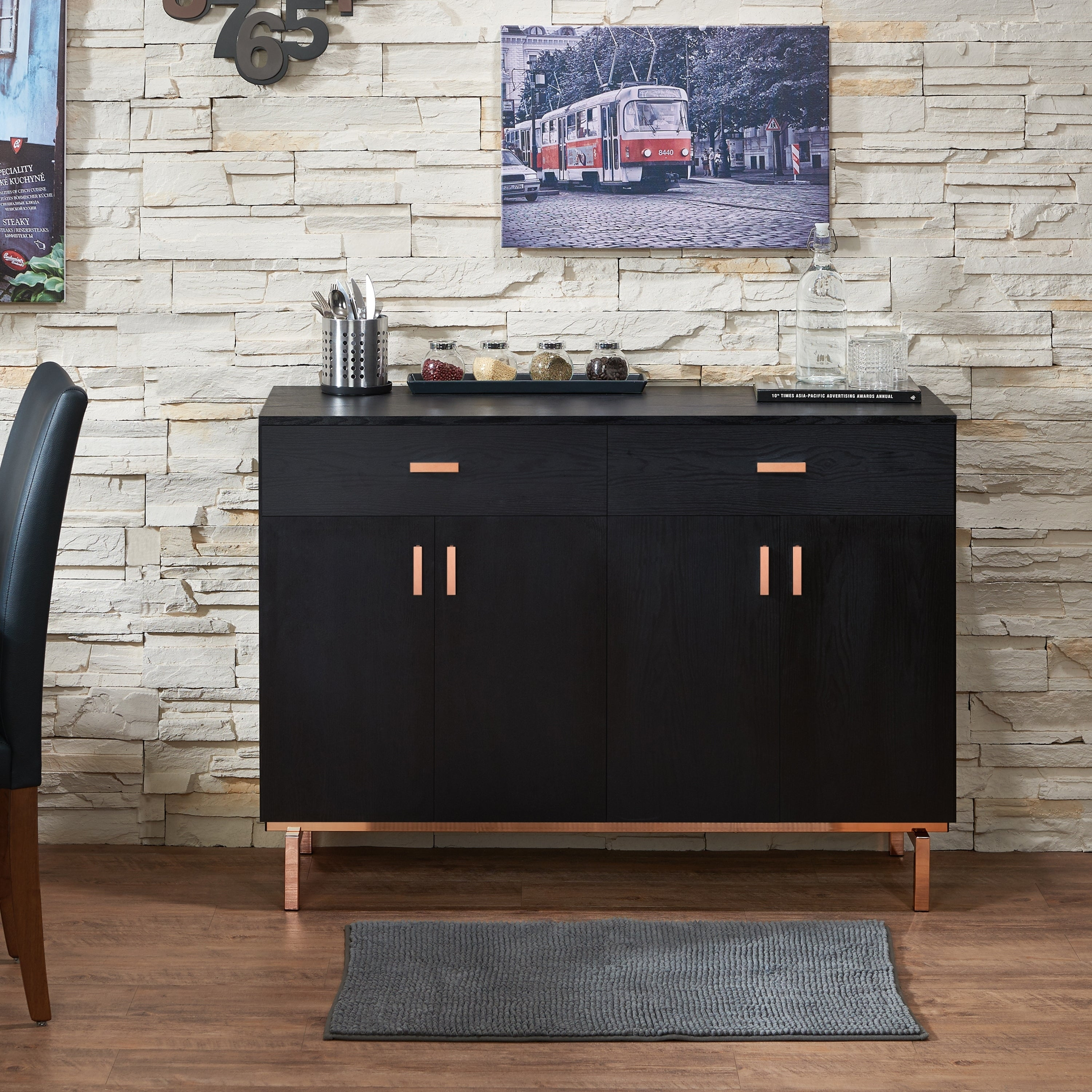 Mason Contemporary Black Buffetfoa Inside Contemporary Wooden Buffets With One Side Door Storage Cabinets And Two Drawers (View 14 of 30)