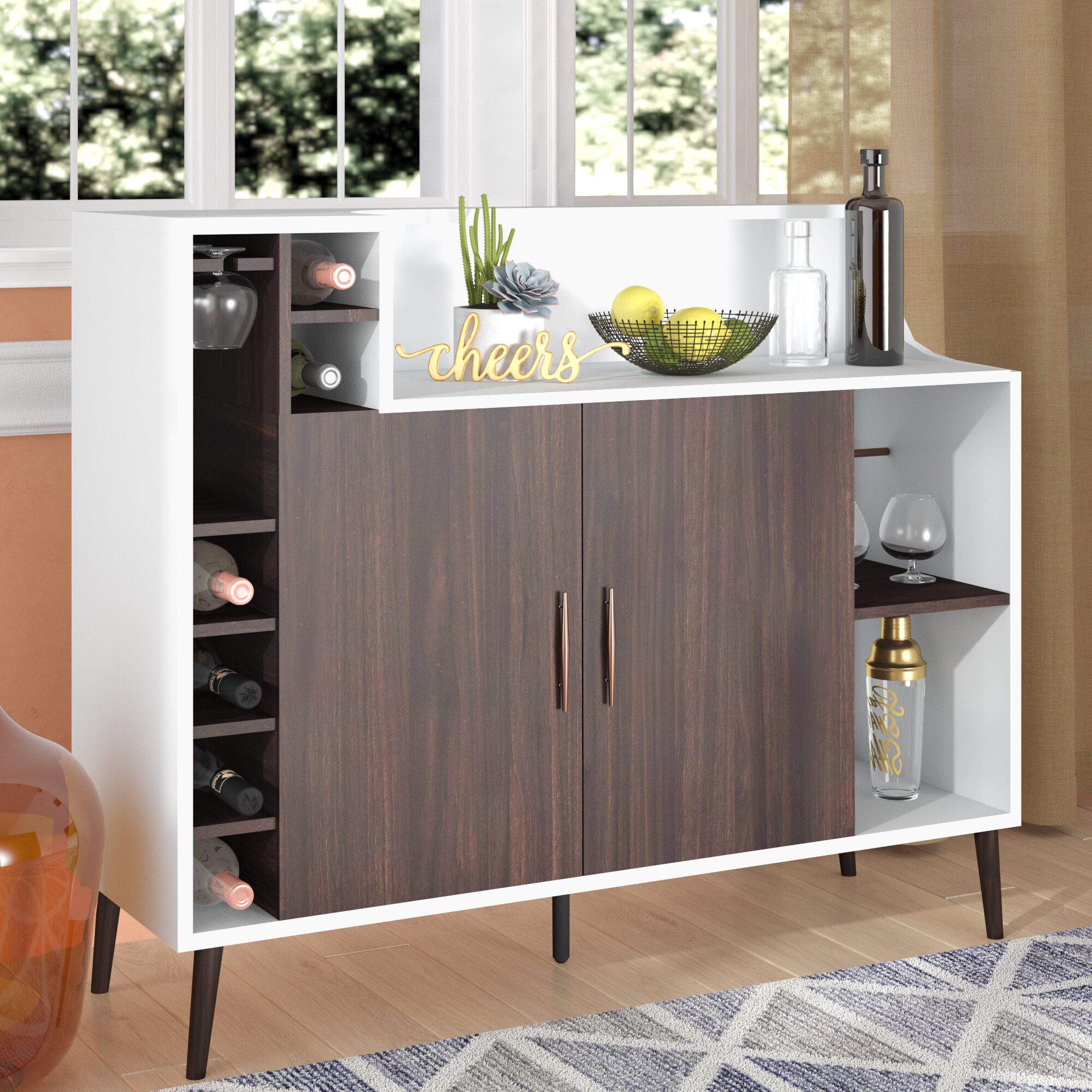 Mcfarlane Server With Contemporary Wooden Buffets With Four Open Compartments And Metal Tapered Legs (View 16 of 30)