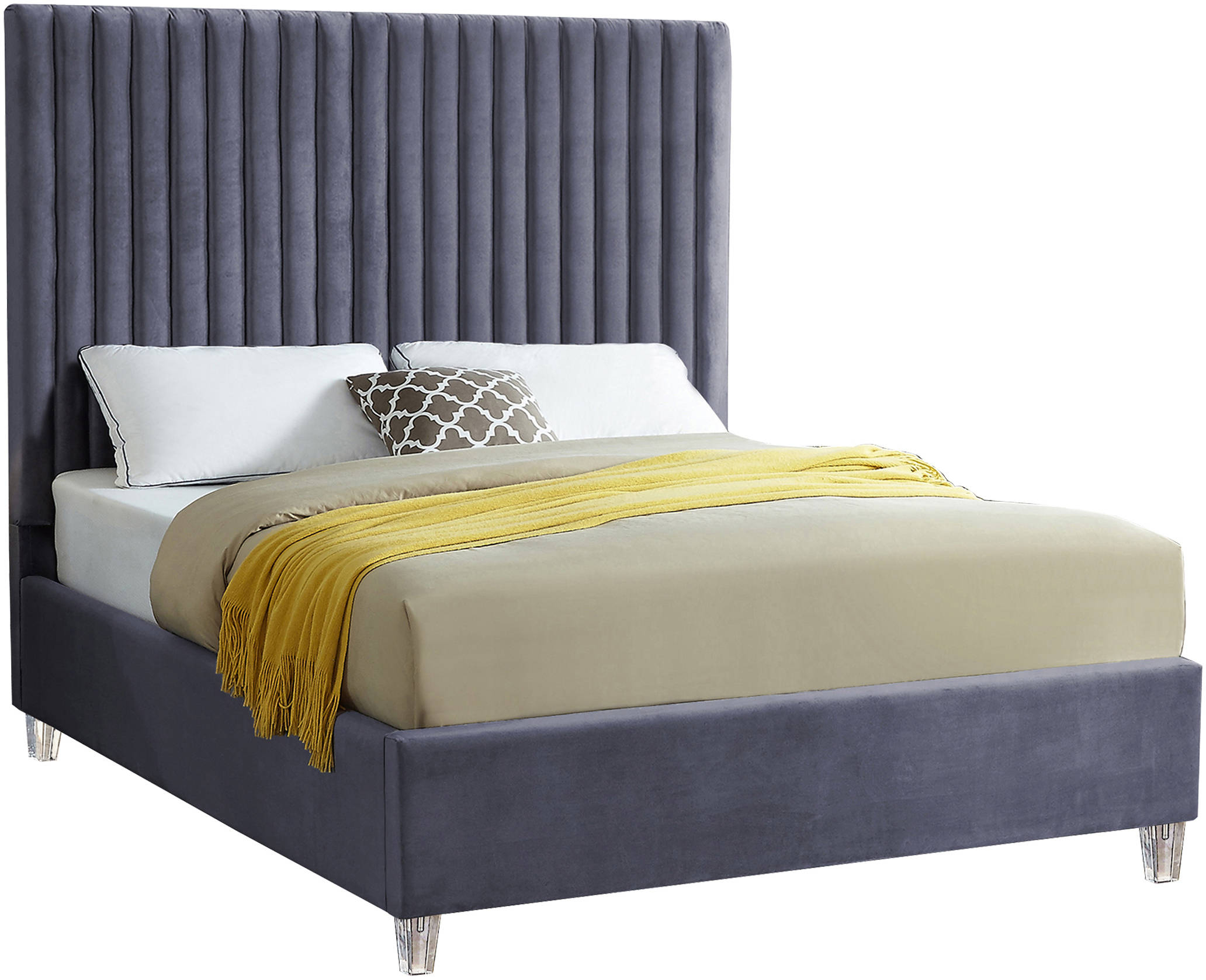 Meridian Furniture Candace Grey Velvet Queen Bed Throughout Candace Door Credenzas (View 21 of 30)